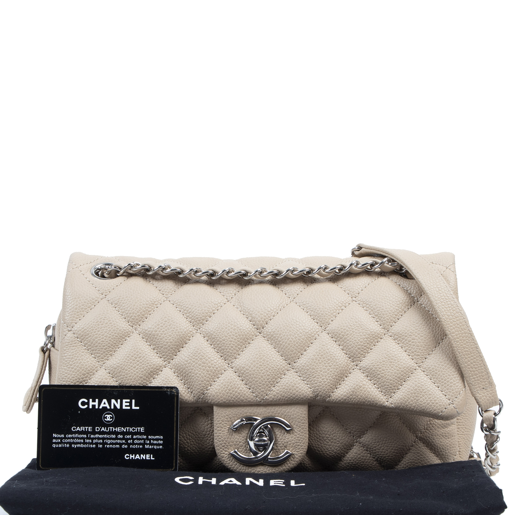 Chanel Beige Caviar Quilted Jumbo Easy Flap Bag