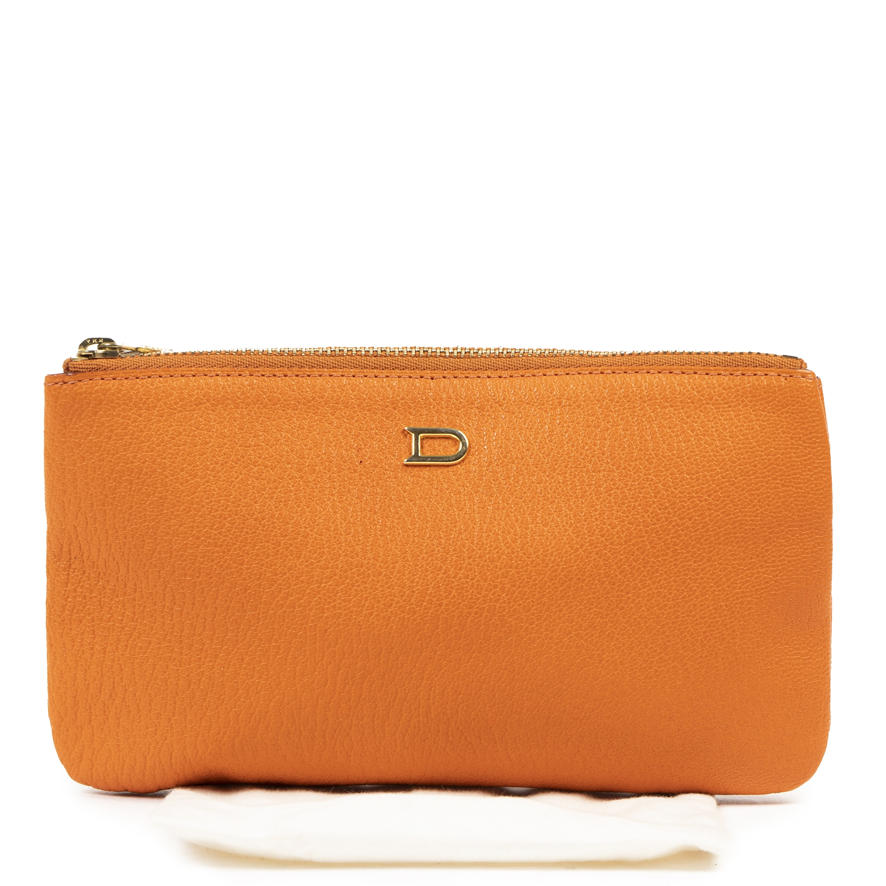 Authentic secondhand Delvaux Orange Leather Pochette designer bags fashion luxury vintage webshop safe secure online shopping
