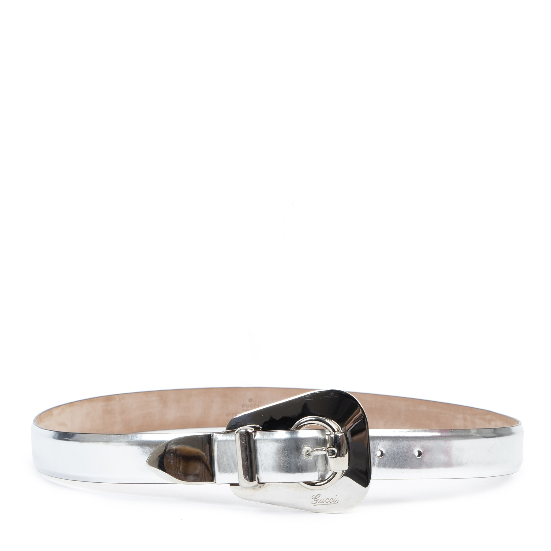 Authentic secondhand Gucci Silver Metallic Leather Belt - Size 95 designer accessories fashion luxury vintage webshop safe secure online shopping
