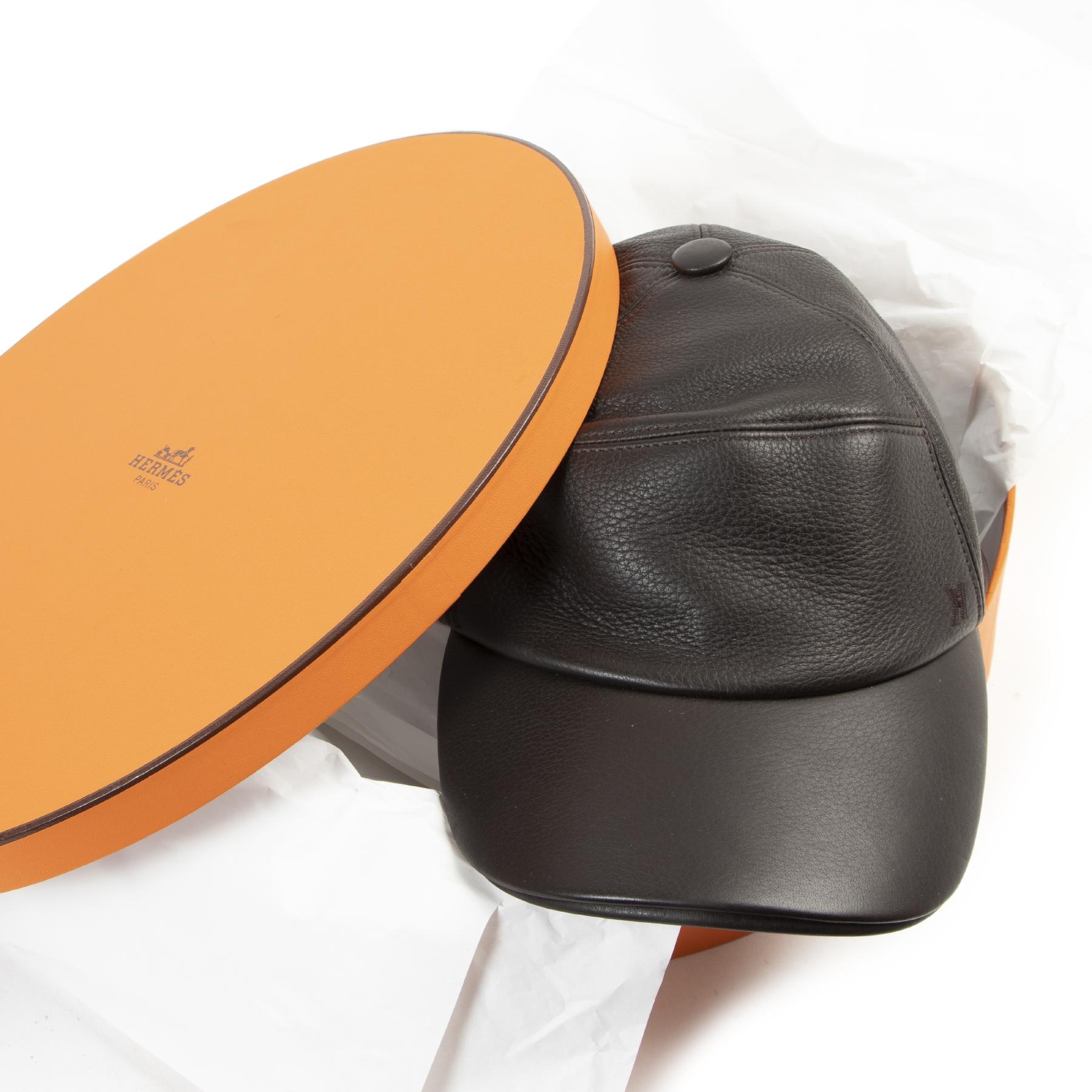 acheter en ligne seconde main Hermès Dark Brown Leather Cap - size 59