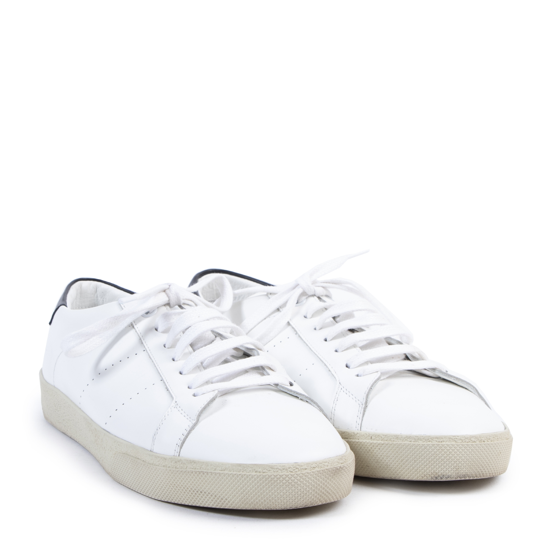 Saint Laurent White Signature Court Sneakers - Size 42
