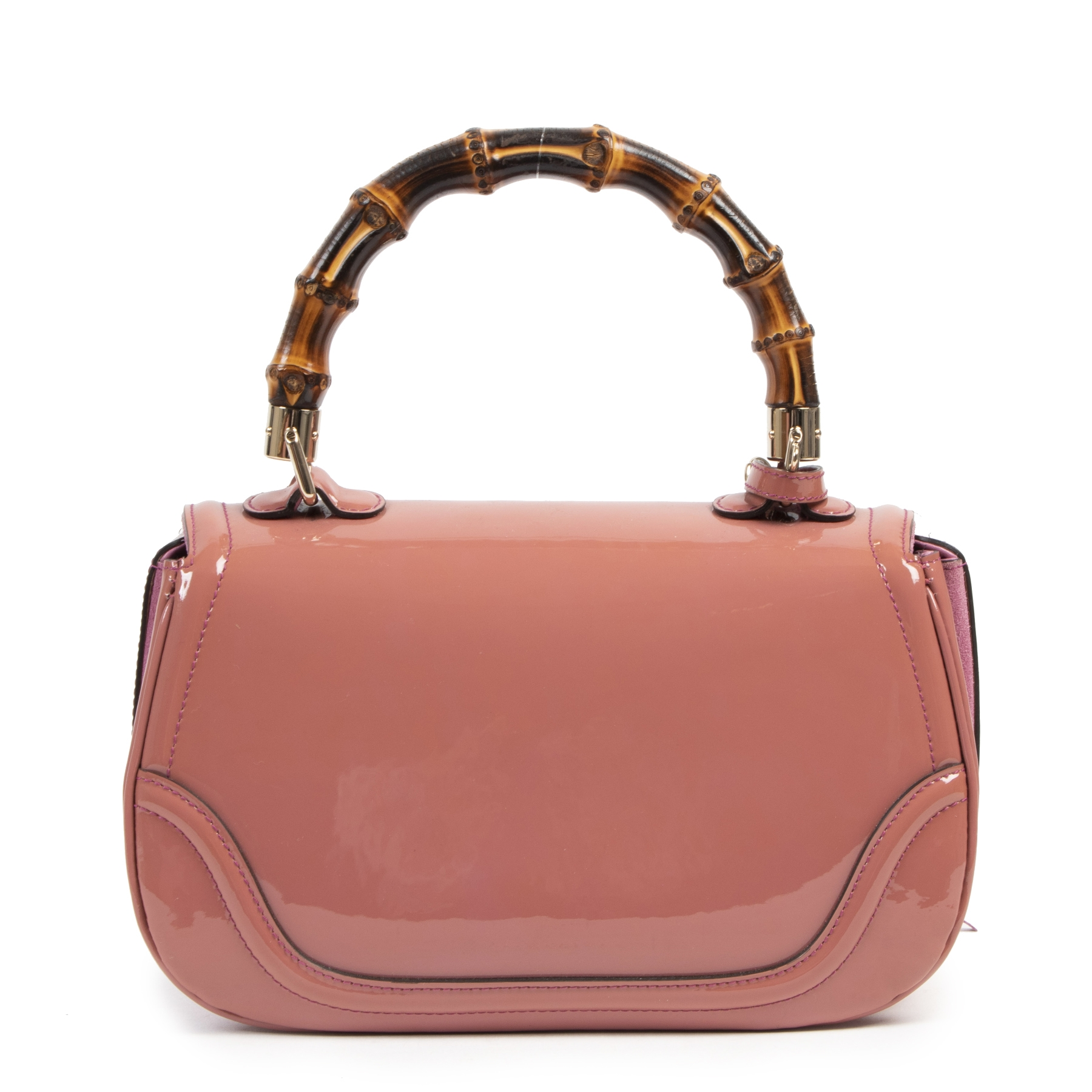 Authentic secondhand Gucci Pink Patent Leather Bamboo Top Handle Bag fashion luxury vintage webshop safe secure online shopping