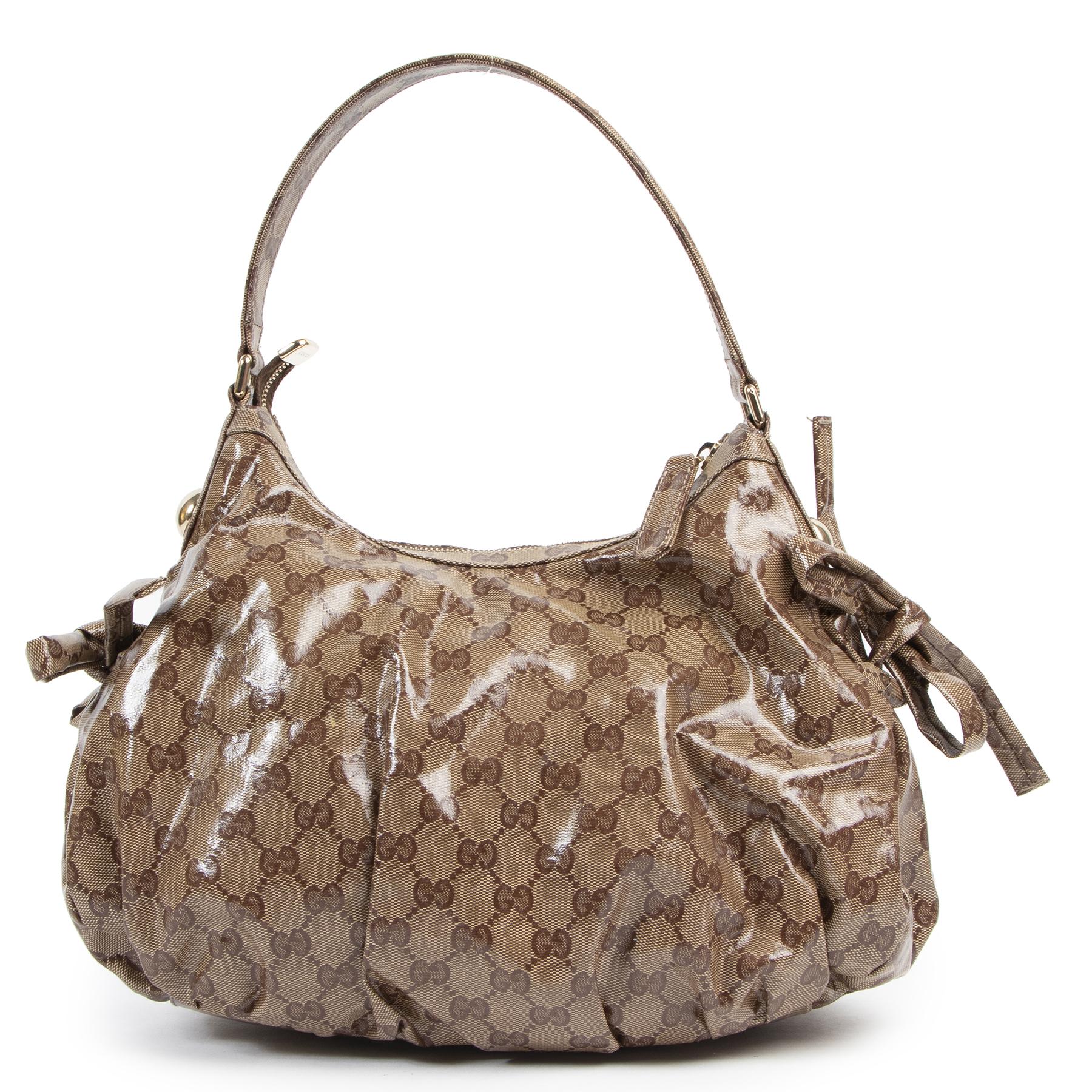 Authentieke Tweedehands Gucci Monogram Crystal Web Stripe Shoulder Bag juiste prijs veilig online shoppen luxe merken webshop