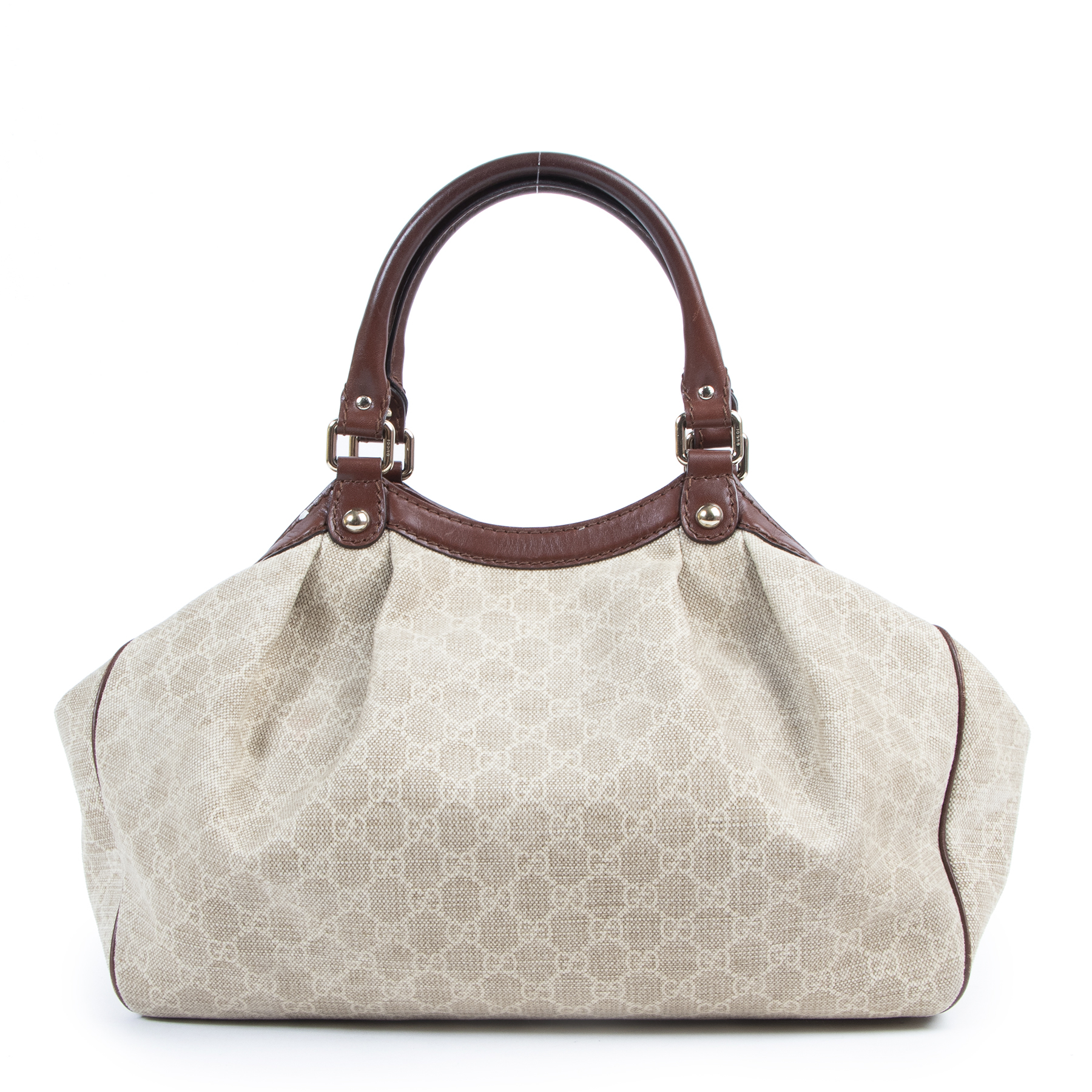Authentic secondhand Gucci Beige GG Monogram Canvas Shoulder Bag designer bags fashion luxury vintage webshop safe secure online shopping