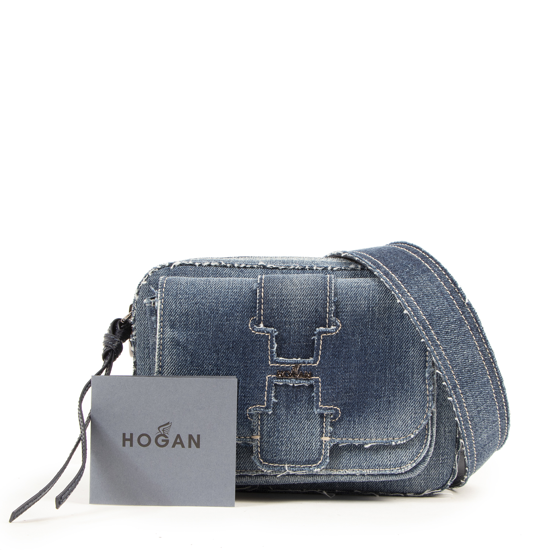 Authentic secondhand Hogan Blue Denim Crossbody Bag designer bags fashion luxury vintage webshop safe secureonline shopping