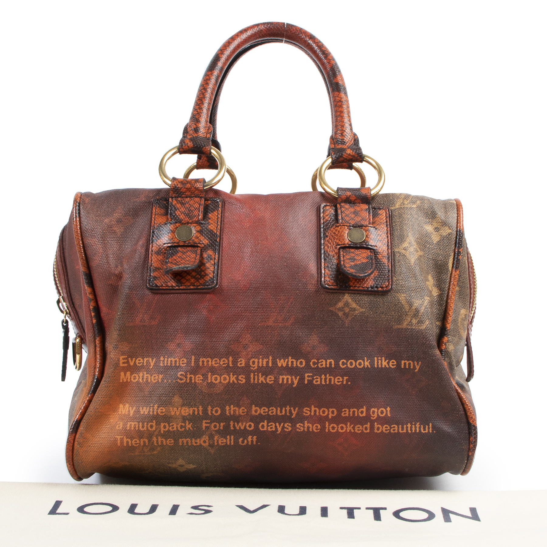 koop veilig online Louis Vuitton Richard Prince Monogram Mancrazy Jokes Bag