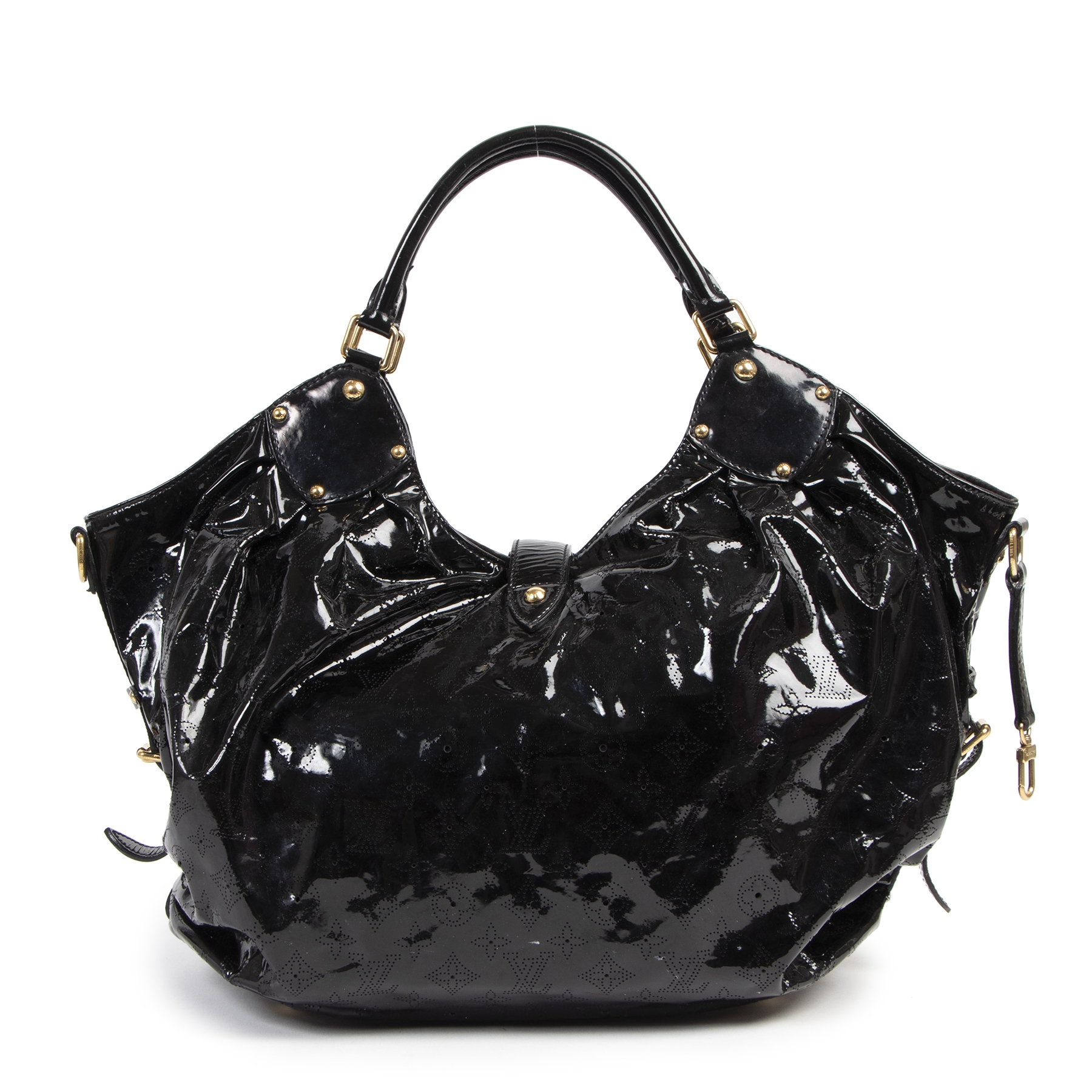 Authentique seconde-main vintage Louis Vuitton Black Mahina Surya XL Hobo Bag achète en ligne webshop