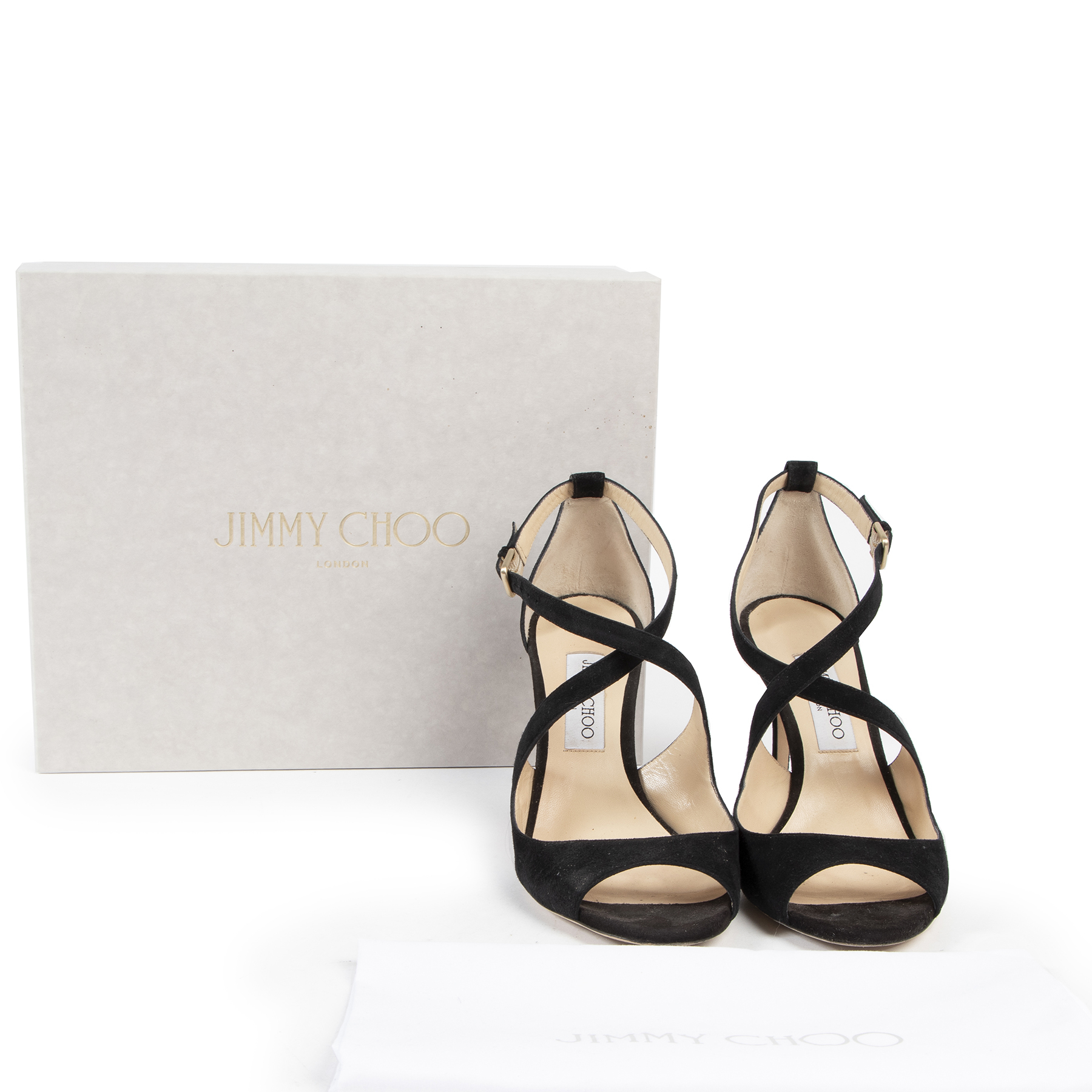 Authentic secondhand Jimmy Choo Black Suede Emily Sandal Heels - Size 40 designer pumps fashion luxury vintage webshop safe secure online shopping