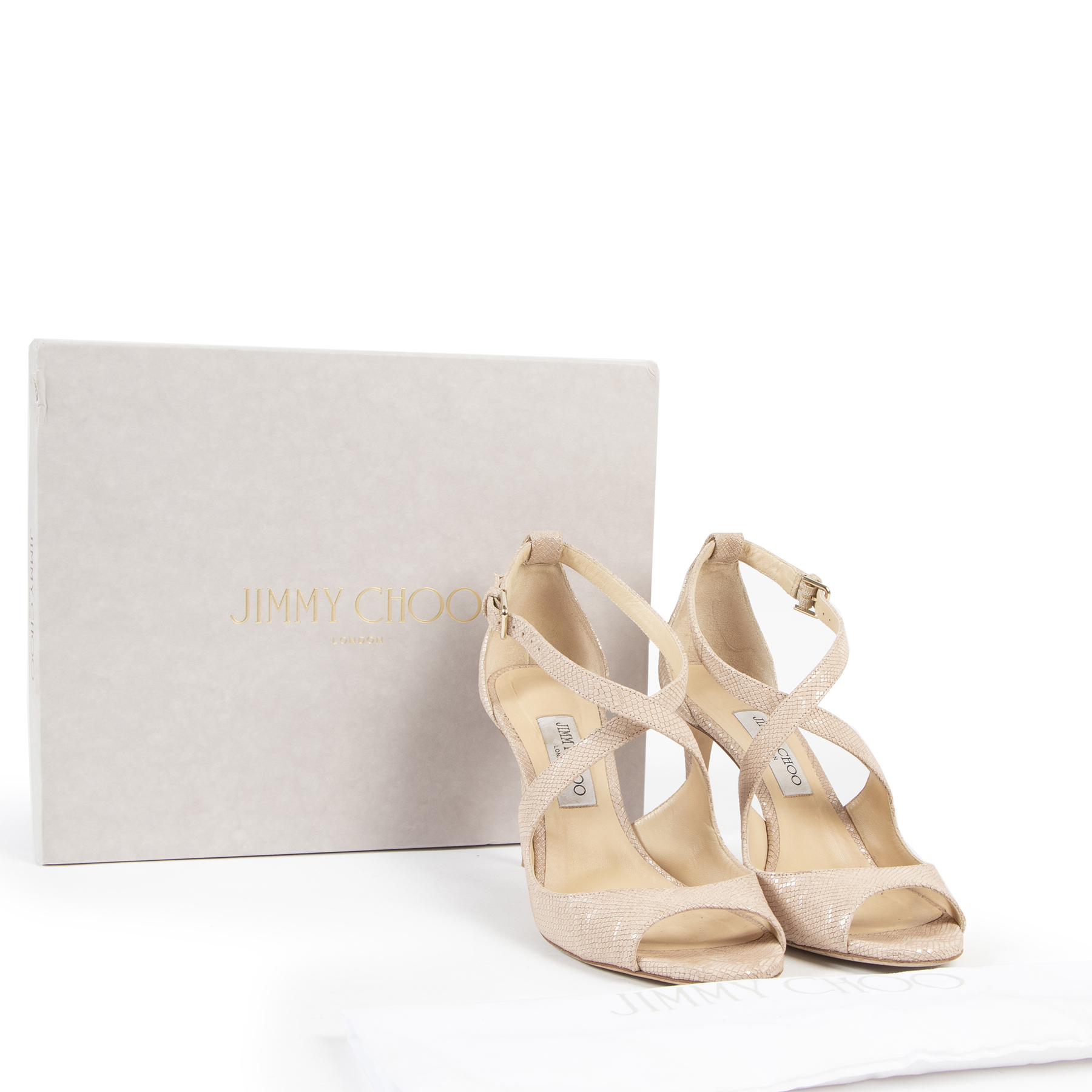 Jimmy Choo Emily Nude Lizard-Embossed Leather Heeled Sandals for the best price