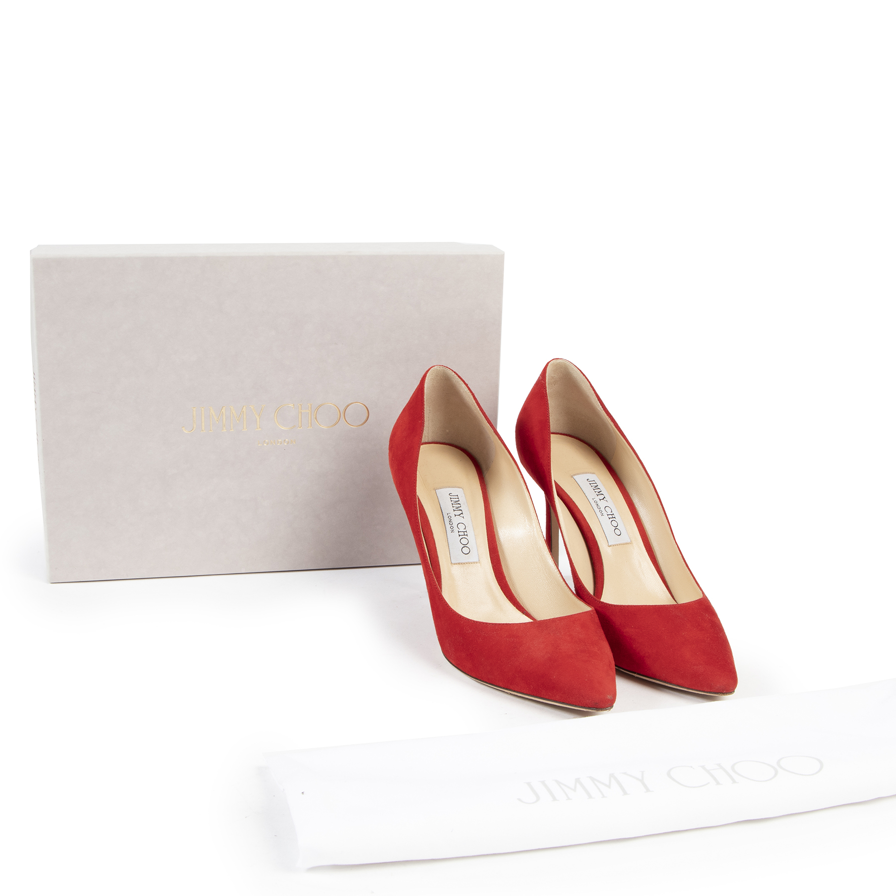 Jimmy Choo Red Suede Romy Pump