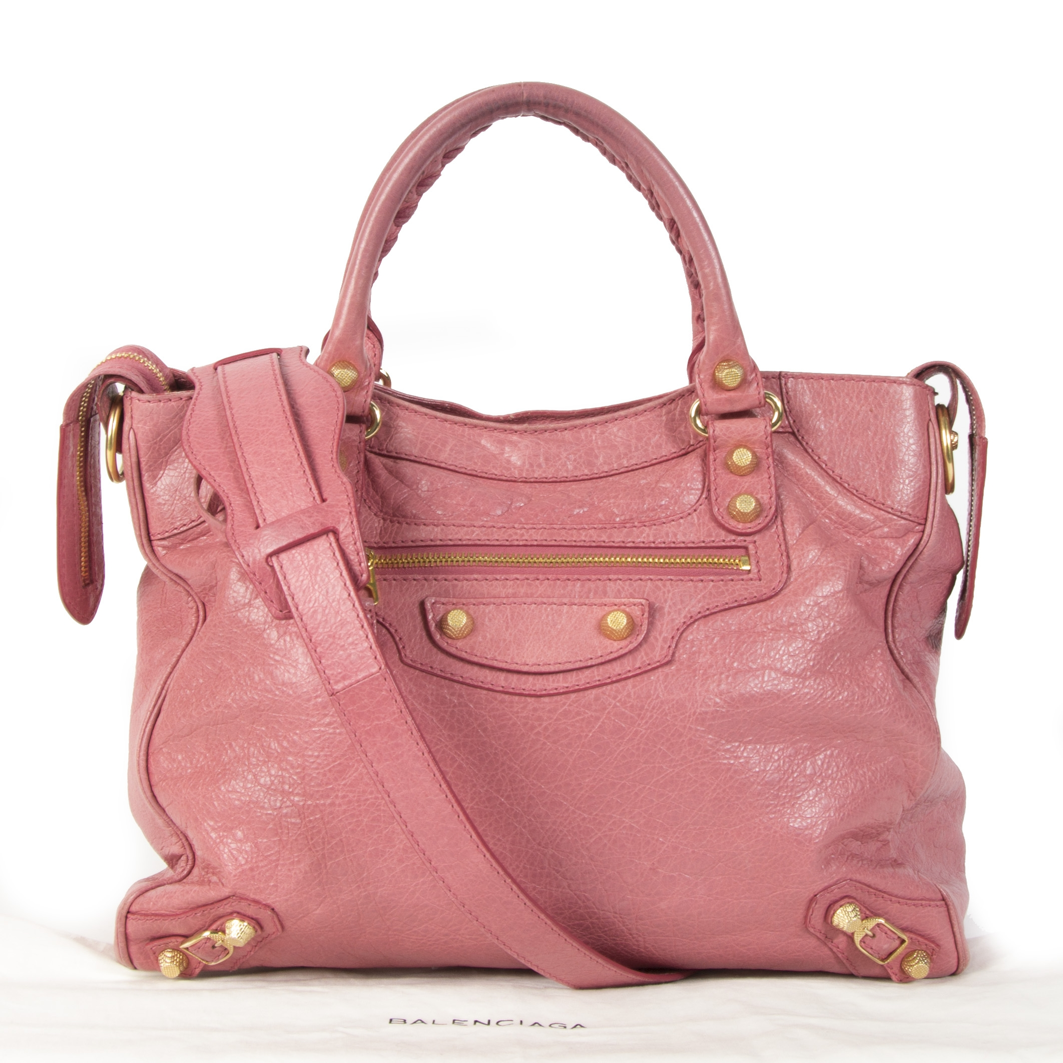 Authentique seconde main vintage Balenciaga Pink Leather Vélo Bag achète en ligne webshop LabelLOV