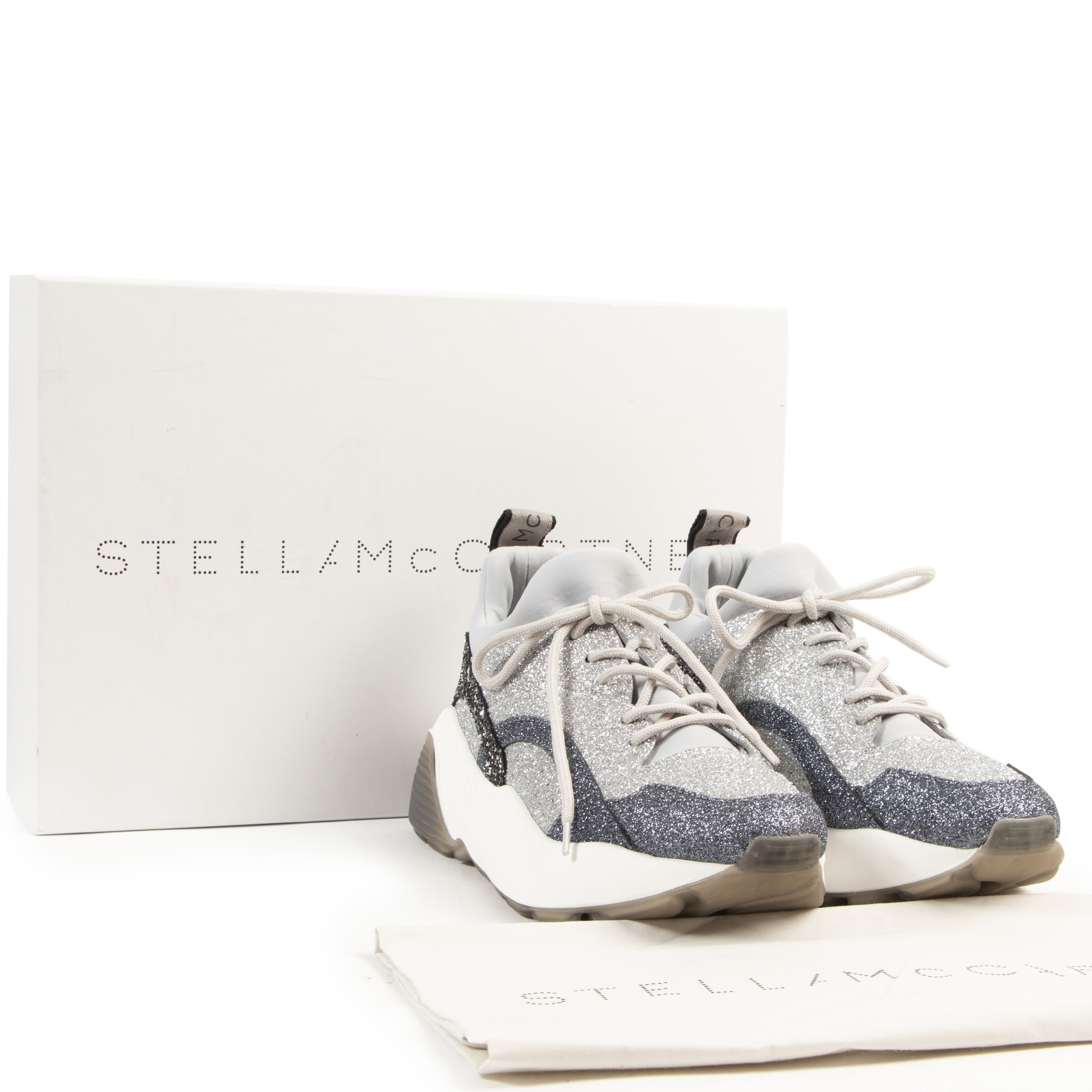 Stella McCartney Gray Glitter Eclypse Sneakers - size 40