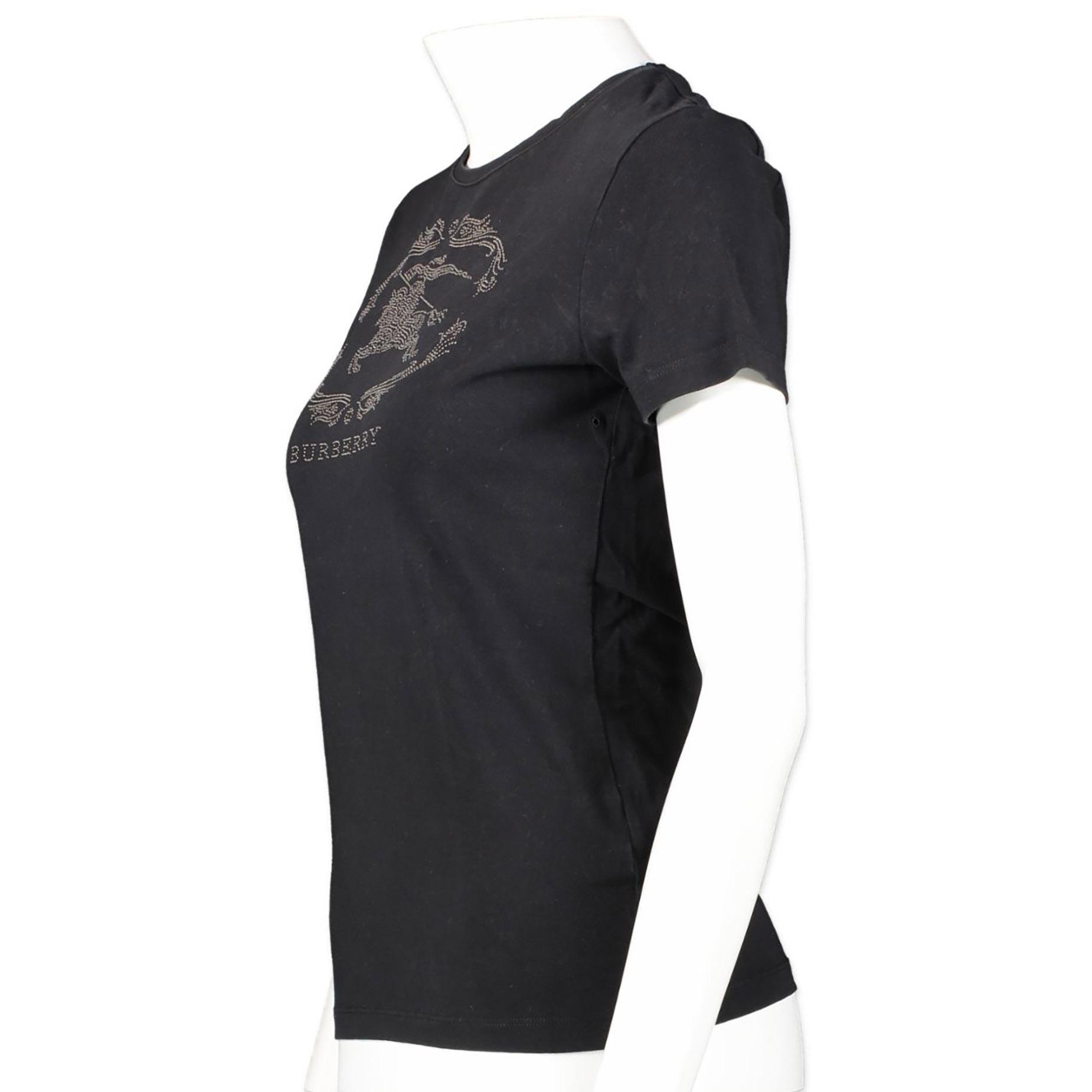 Authentieke tweedehands vintage Burberry Rhinestone Black T-shirt - Size S koop online webshop LabelLOV