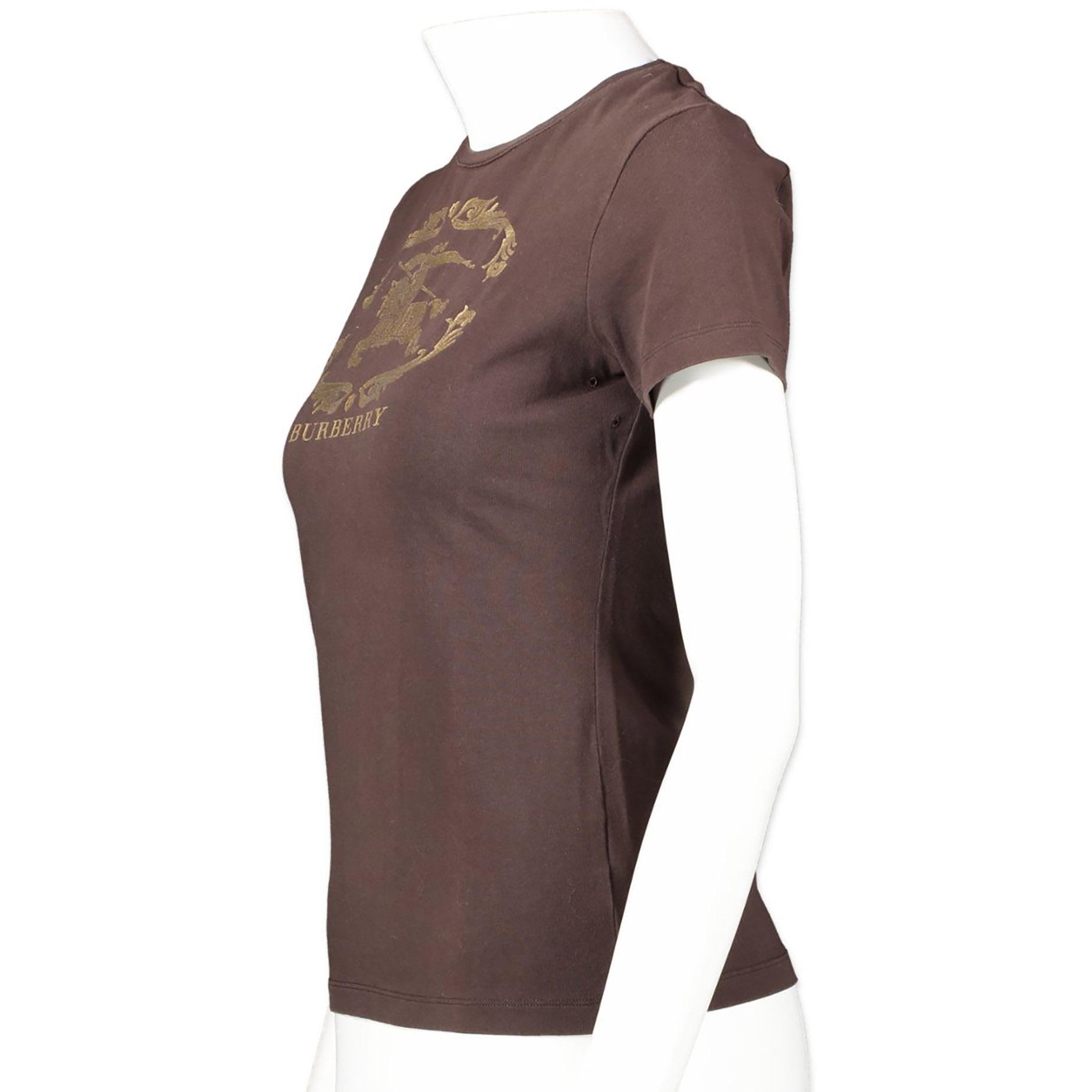 Authentieke tweedehands vintage Burberry Brown Logo T-shirt koop online webshop LabelLOV