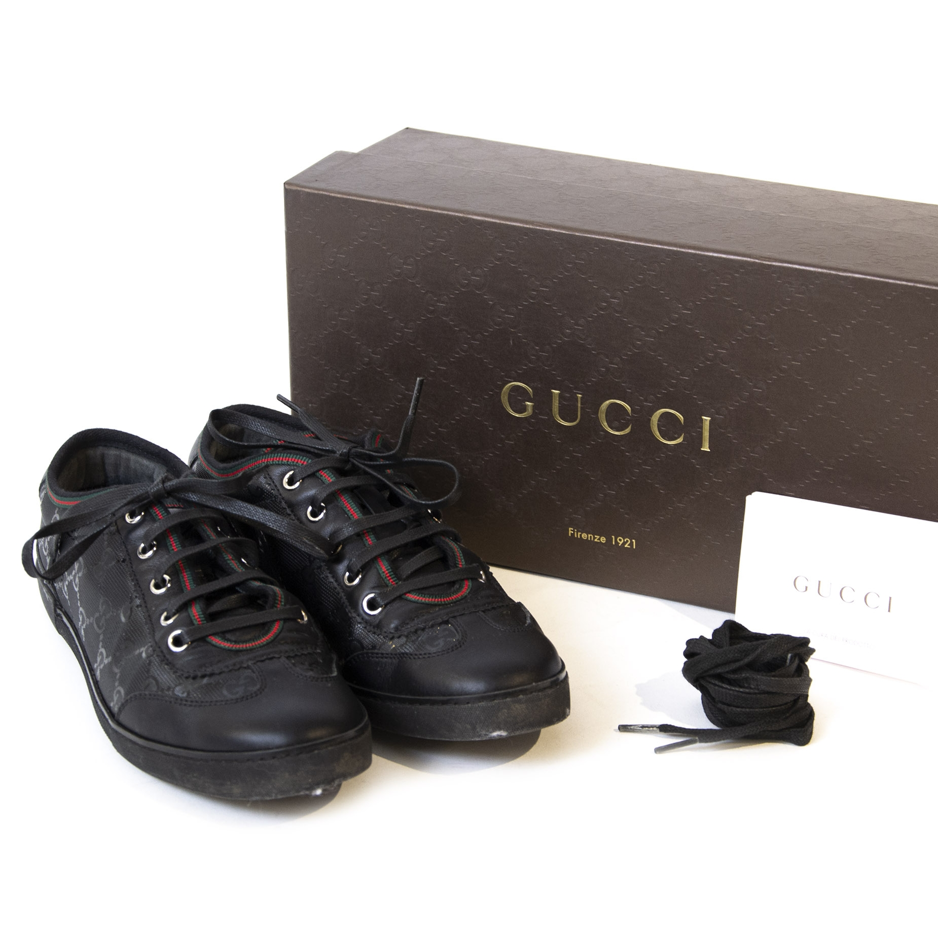 Gucci Black Monogram Sneakers with Red Green Detail