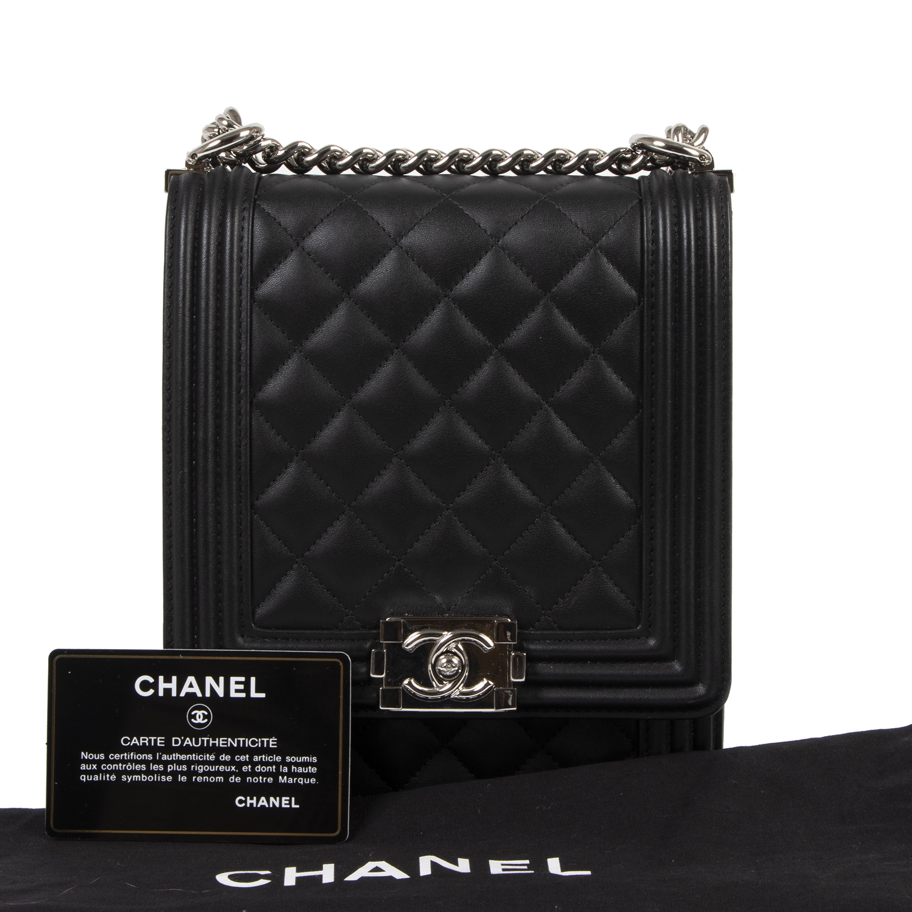 Authentic secondhand Chanel Black Vertical Boy Bag Large designer bags designer brands fashion luxury vintage webshop safe secure online shopping