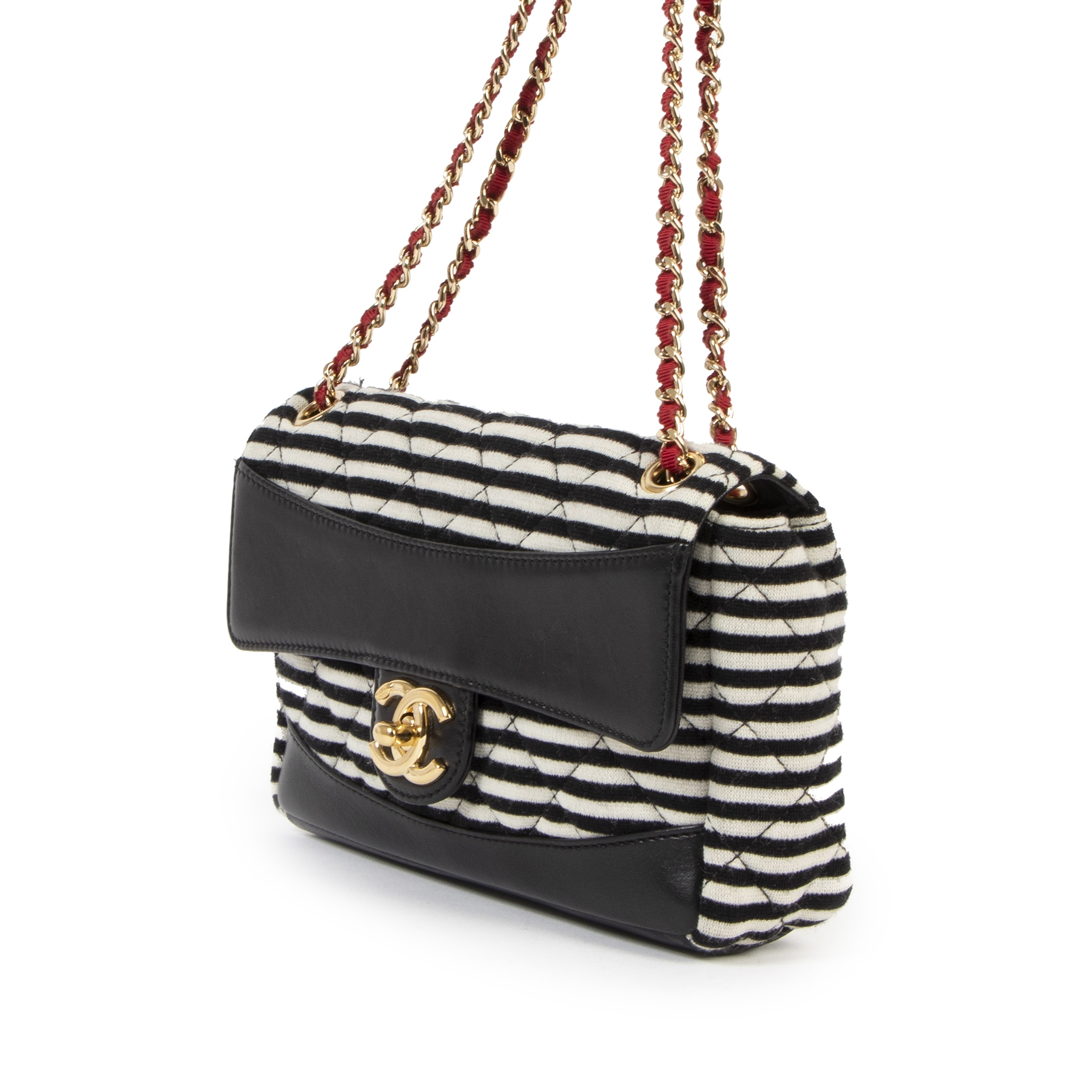 Chanel Striped Quilted Jersey Fabric & Navy Lambskin Coco Sailor New Mini Classic Single Flap Bag