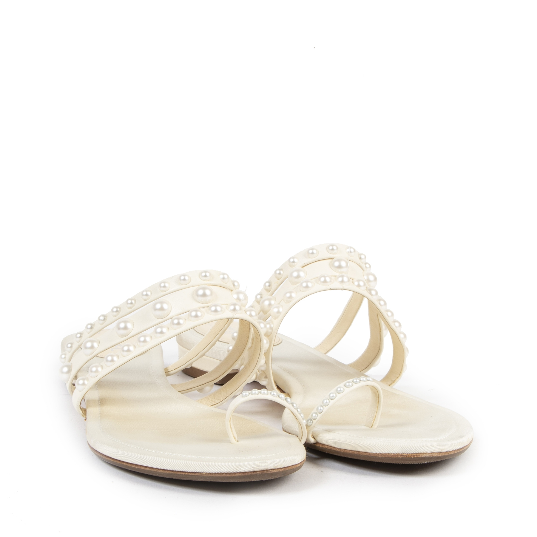 Authentieke tweedehands vintage Chanel White Pearl Toe Strap Sandals - Size 39,5 koop online webshop LabelLOV