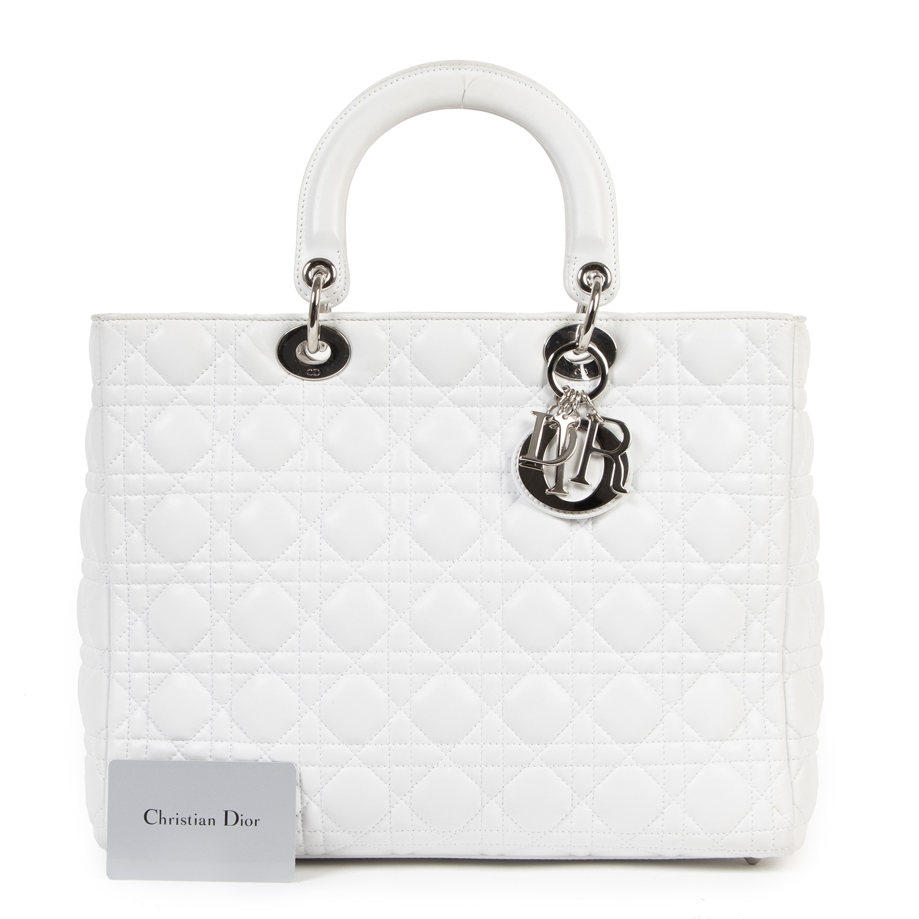Dior Lady Dior White Large Top Handle