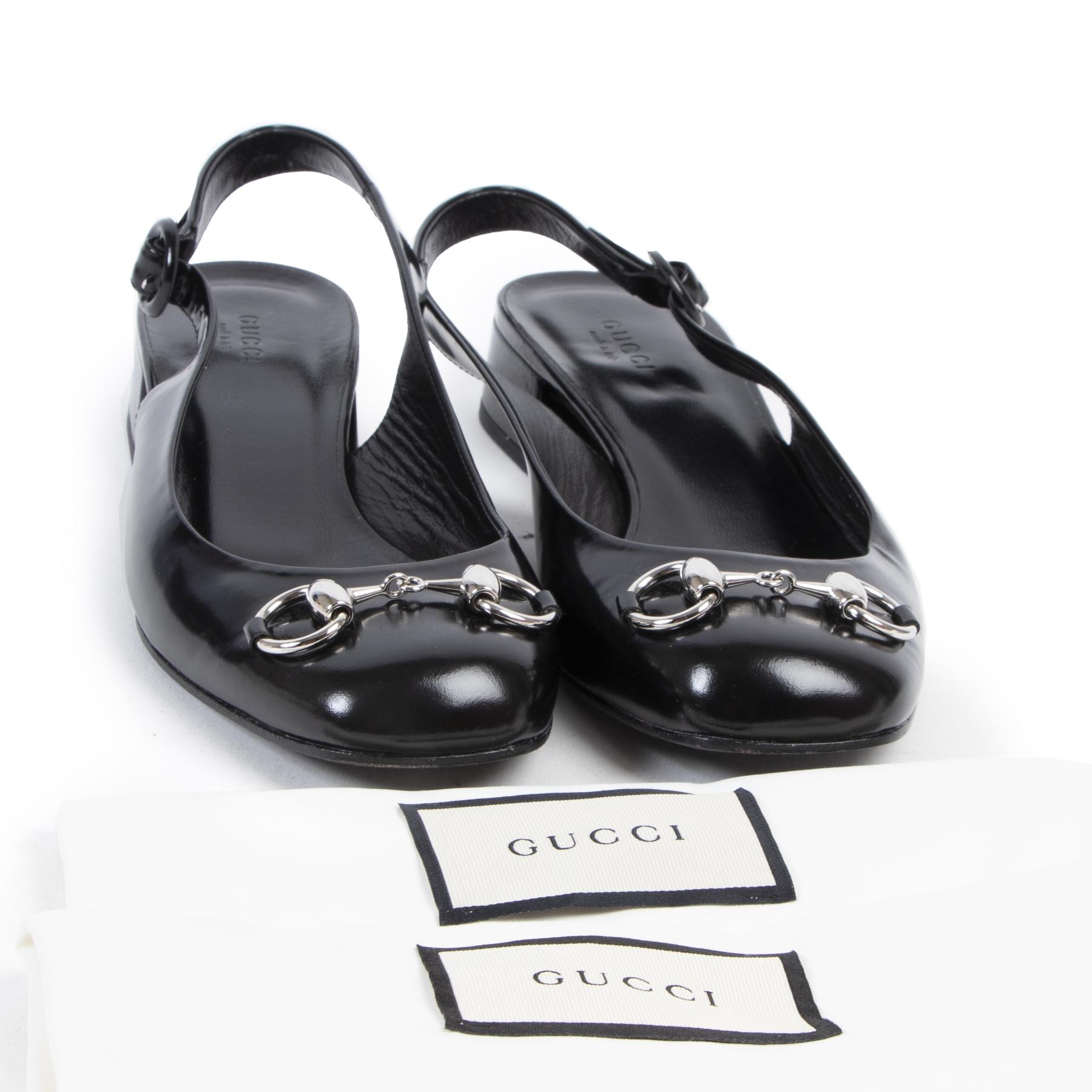 Gucci Black Vernis Leather Horsebit Flats kopen en verkopen aan de beste prijs