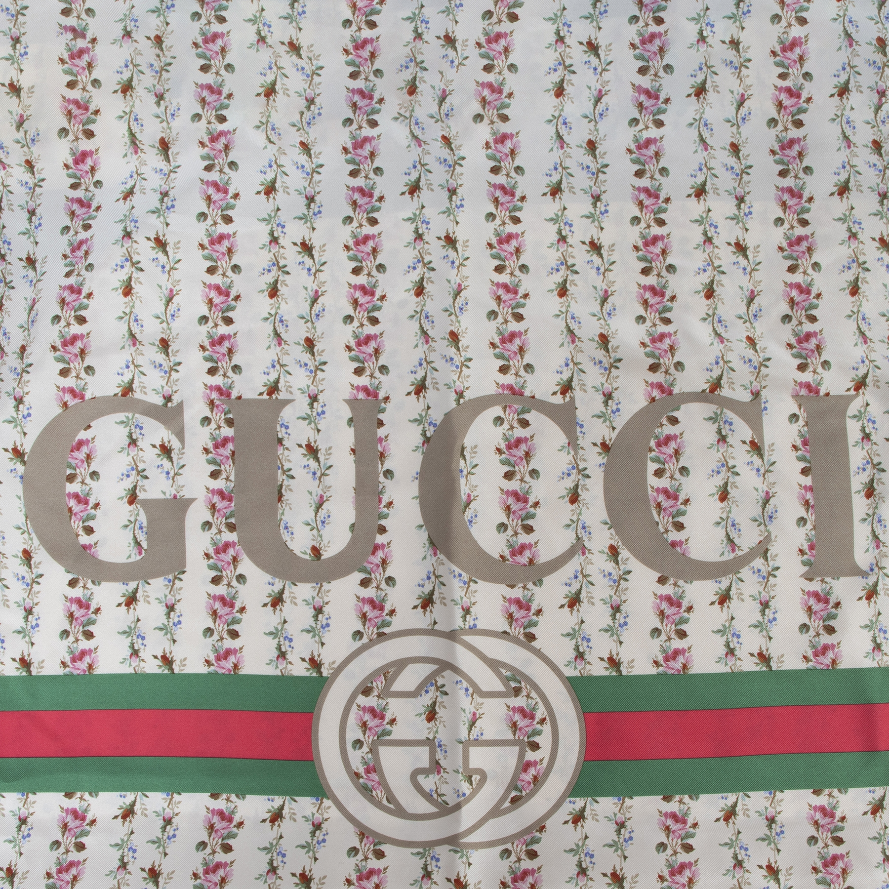 Authentic secondhand Gucci Floral GG Web Silk Scarf designer accessories fashion luxury vintage webshop safe secure online shopping