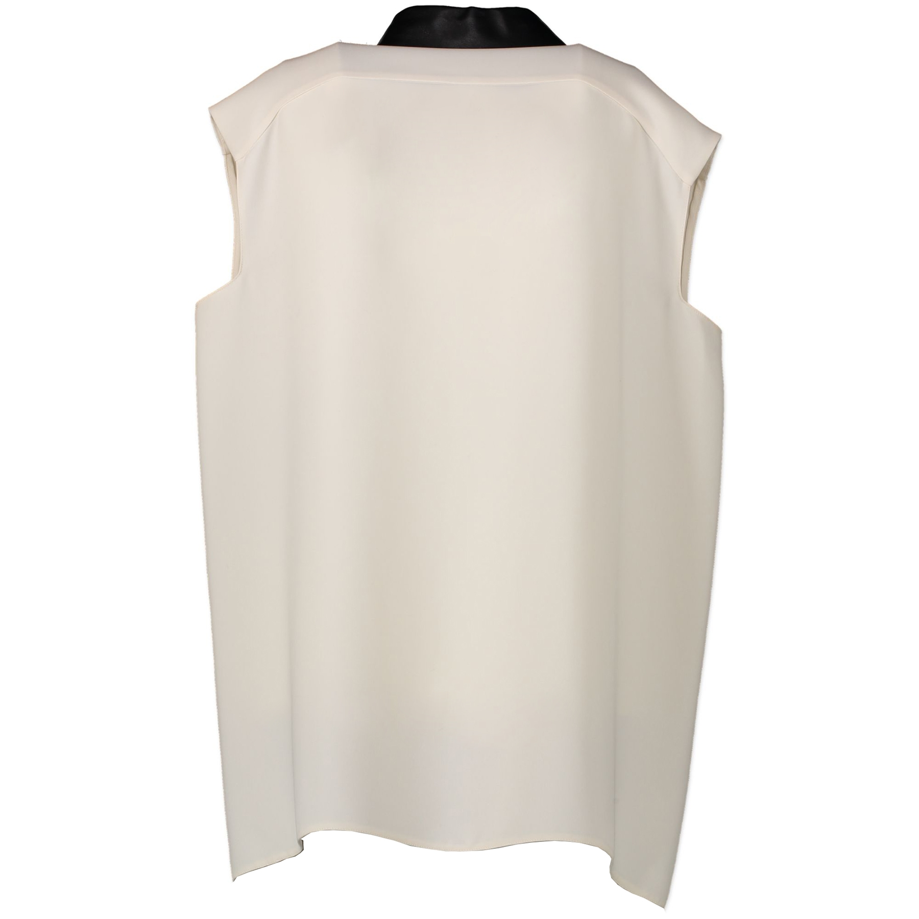 Gucci White Silk Shirt With Leather Collar - 46 IT - aan de beste prijs