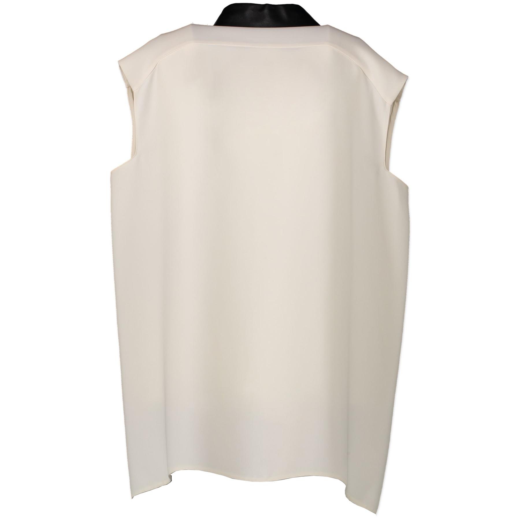 Gucci White Silk Shirt With Leather Collar - 46 IT - aan de beste prijs