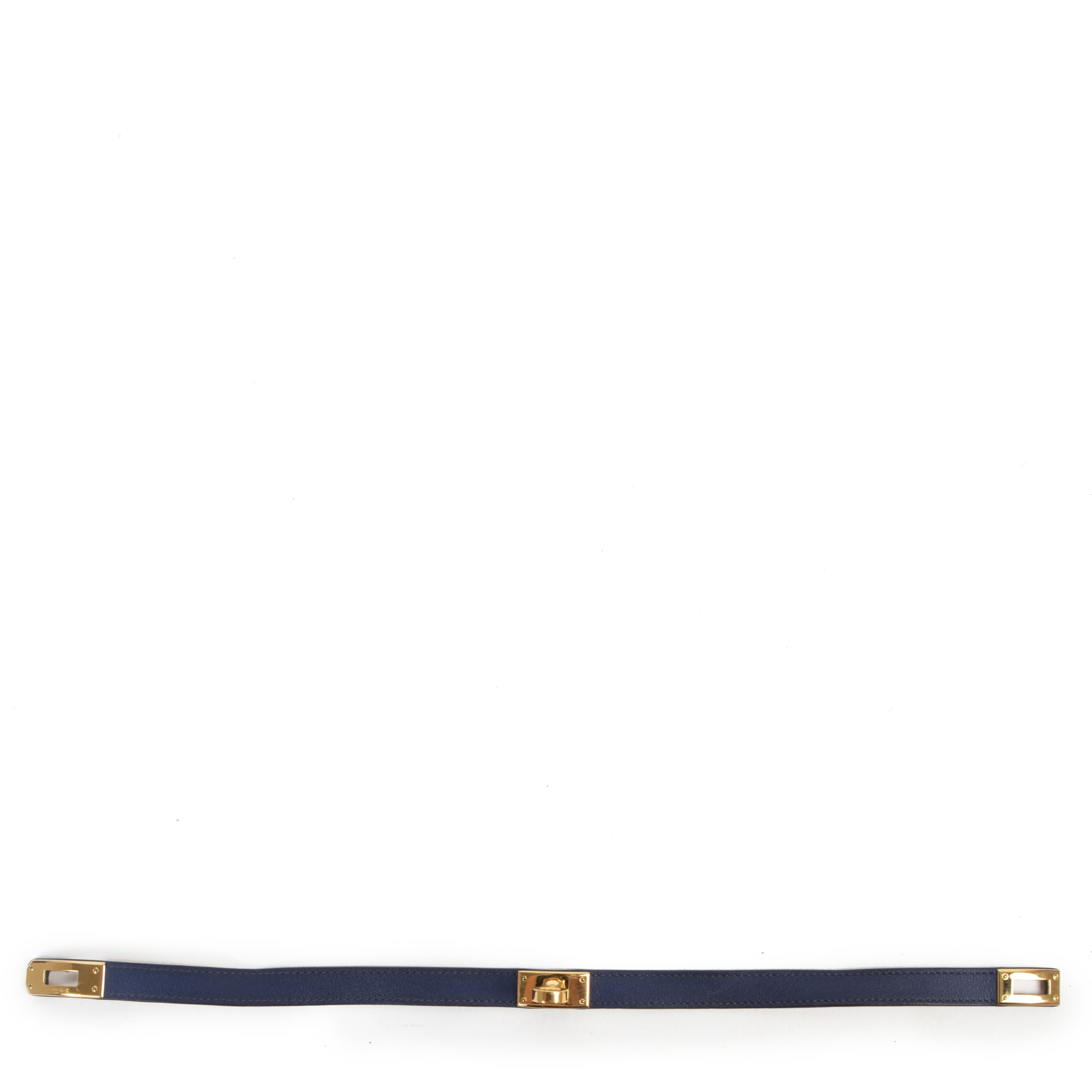 Koop en verkoop uw authentieke designer Hermès Kelly Turnlock Leather Bracelet 'Bleu Nuit' GHW