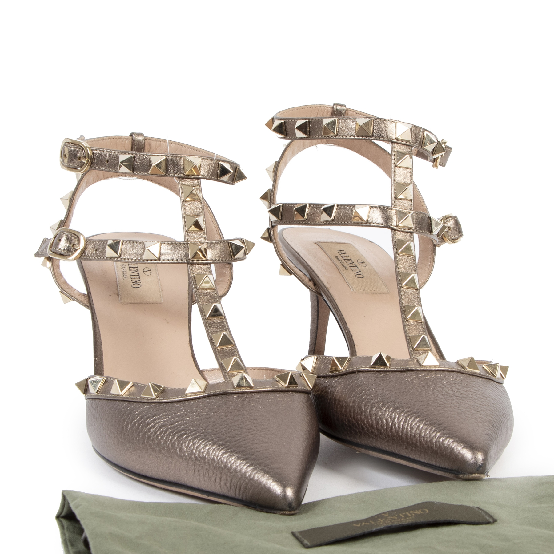 Valentino Metallic Bronze Rockstud Caged Pump