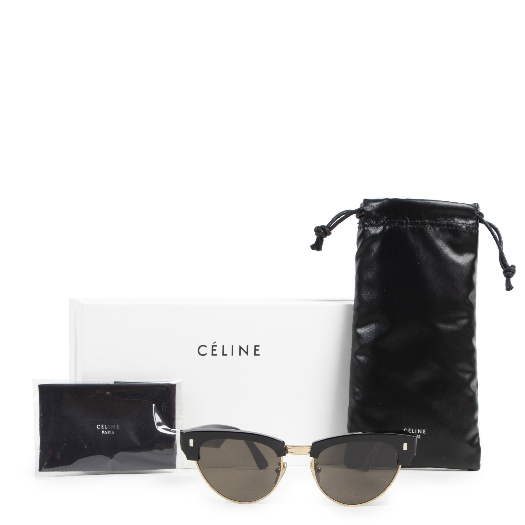 Authentic secondhand Céline Black and Gold Cateye Sunglasses designer accessories fashion luxury vintage webshop safe secure online shopping
