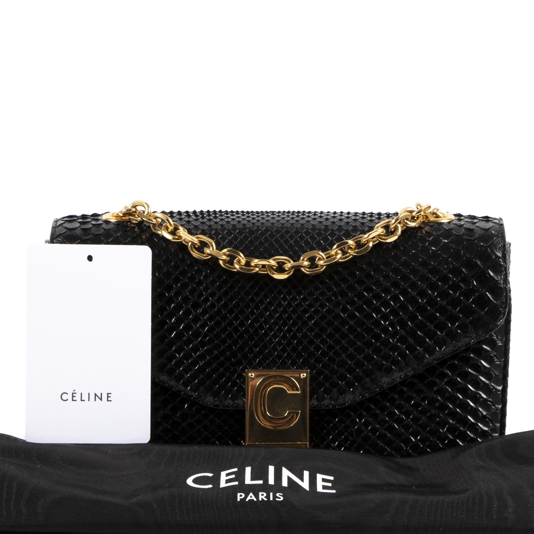 Celine Medium C-Bag Python Black Bag