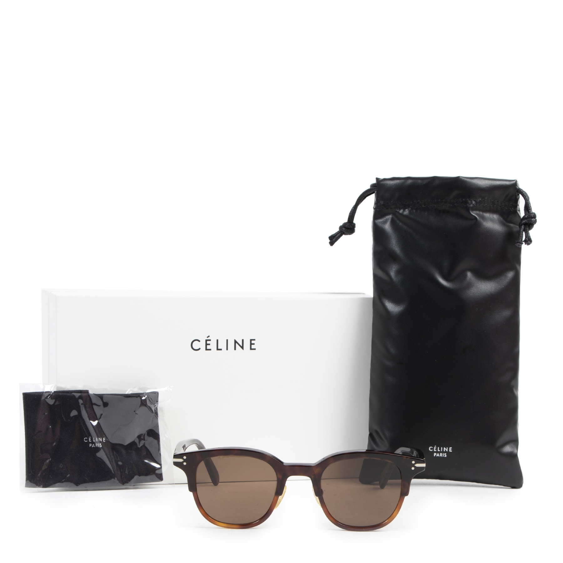 Authentic secondhand Céline Round Bicolor Black / Havanna Sunglasses designer accessories fashion luxury vintage webshop safe secure online shopping
