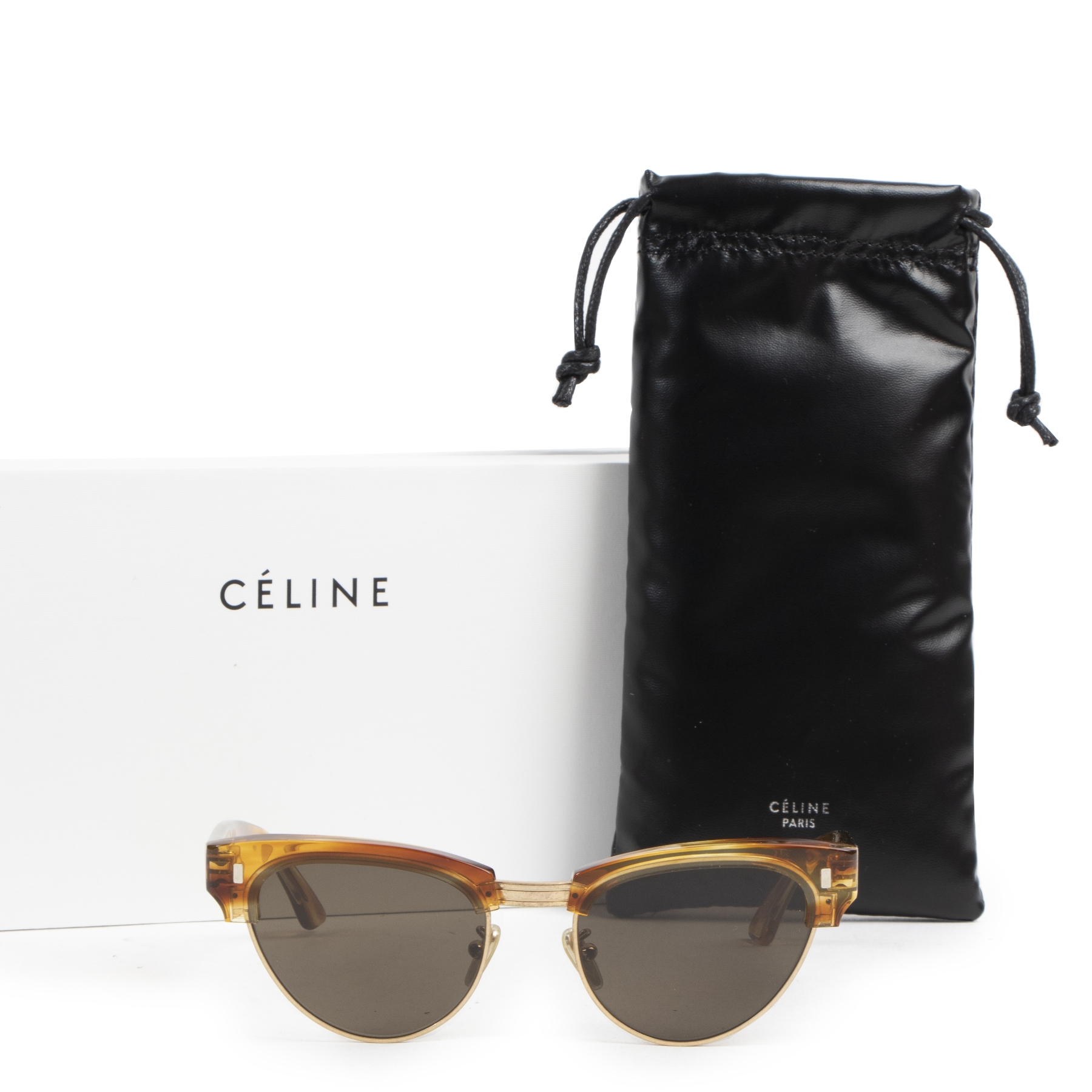 Céline Round 0059 Striped Honey Havana Sunglasses