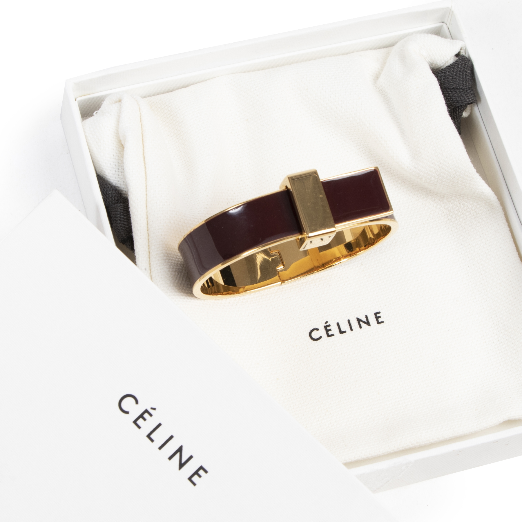 Authentic secondhand Céline Brown Enamelled Bracelet - Size Medium designer accessories fashion luxury vintage webshop safe secure online shopping