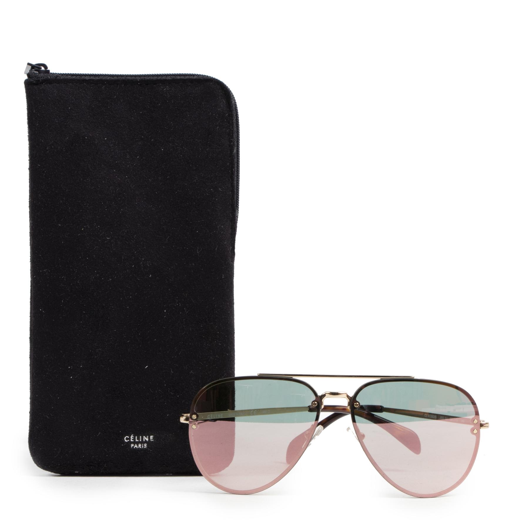 Authentic secondhand Céline Black Aviator Mirror Sunglasses designer accessories fashion luxury vintage webshop safe secure online shopping