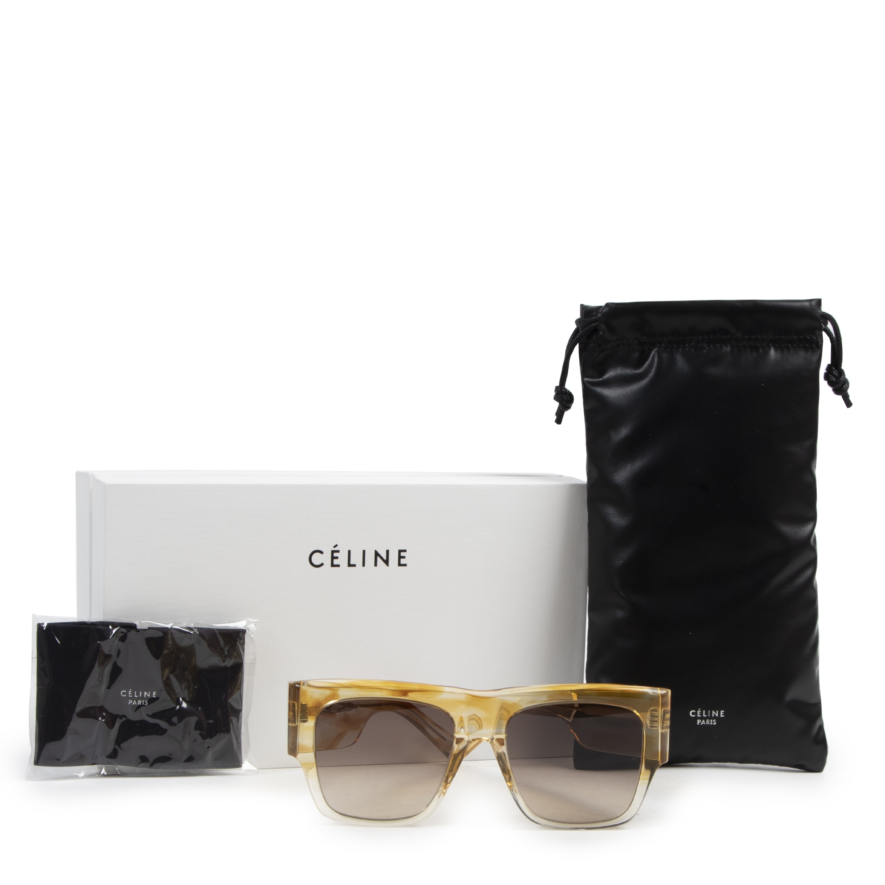 Authentic secondhand Céline Yellow Havana Striped Rectangular 0056 Sunglasses designer accessories fashion luxury vintage webshop safe secure online shopping
