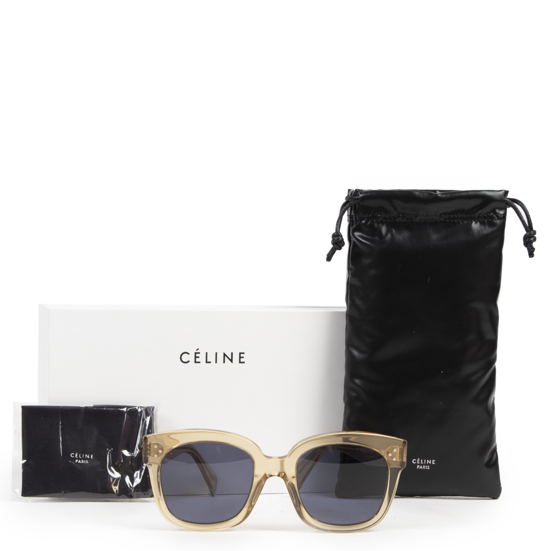 Authentic secondhand Céline New Audrey Sunglasses in Transparent Champagne Acetate designer accessories fashion luxury vintage webshop safe secure online shopping