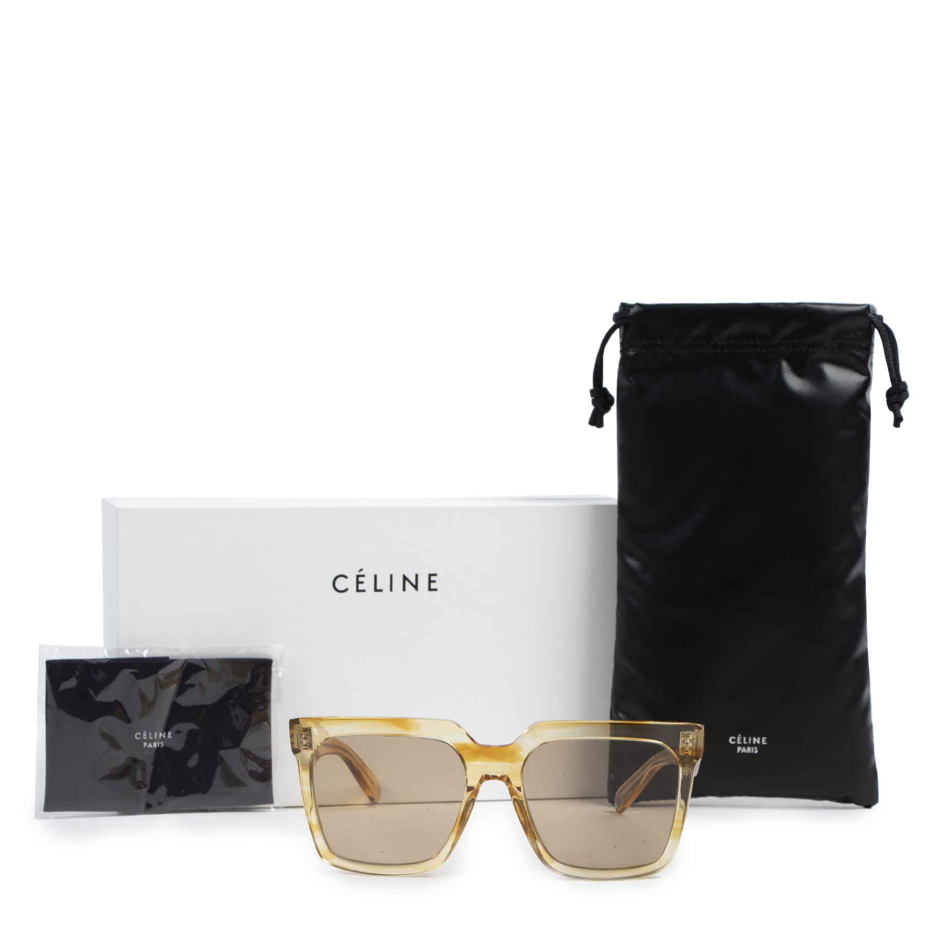 Authentic secondhand Céline Yellow Havana Striped Oversized 0055 Sunglasses designer accessories fashion luxury vintage webshop safe secure online shopping