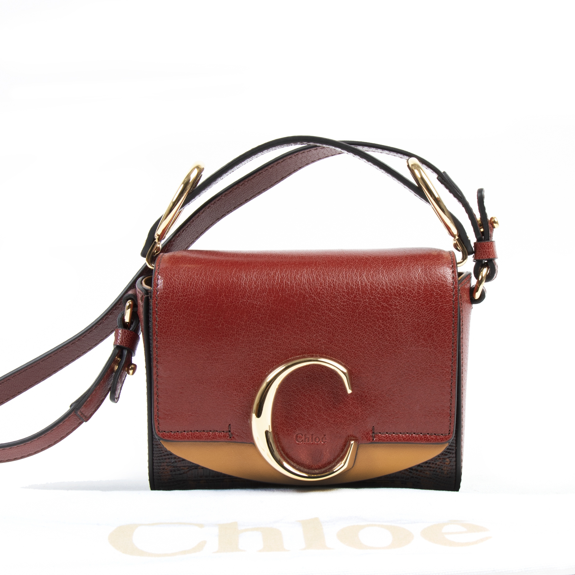 Chloé C Small Crossbody Sepia Red Bag