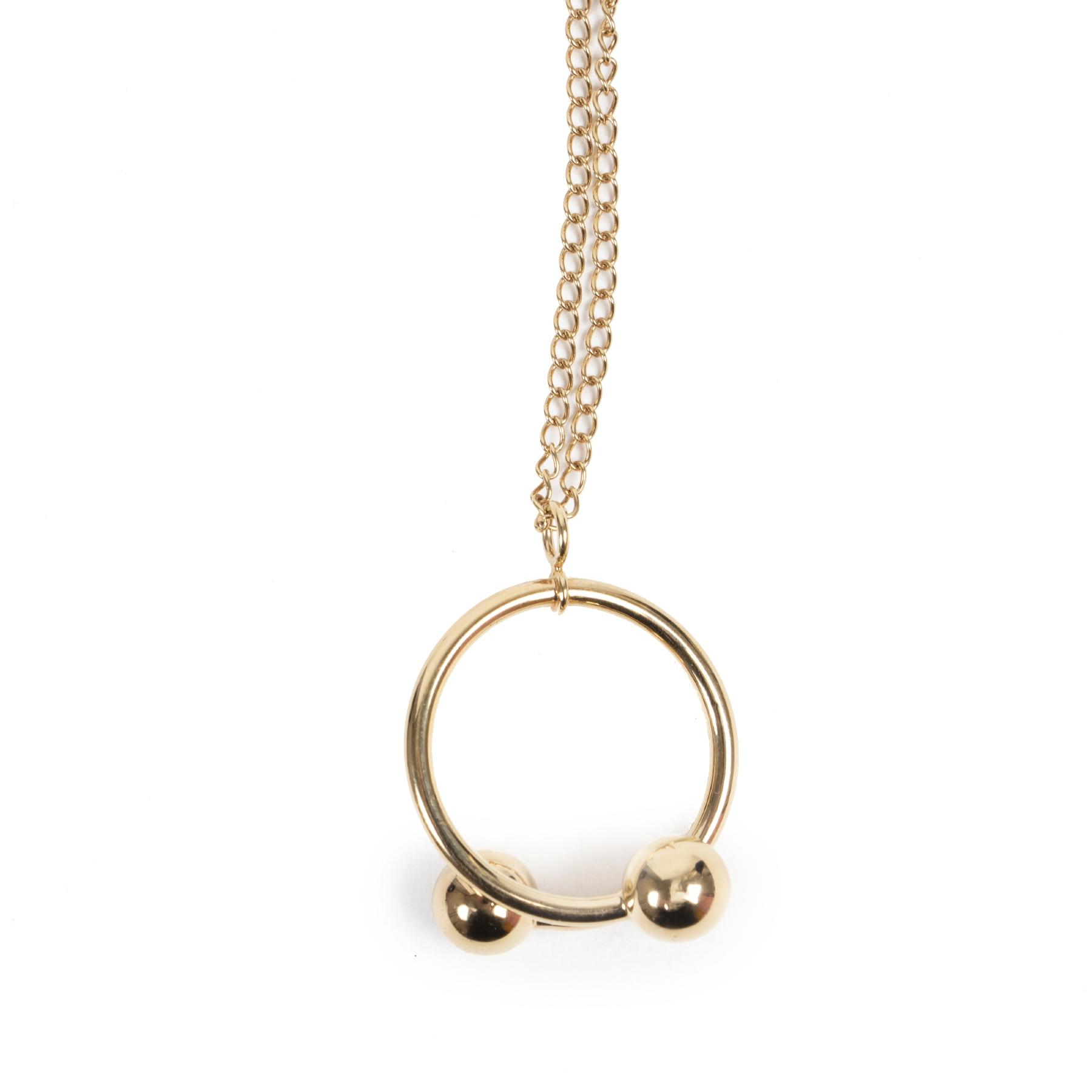 Authentic secondhand J.W. Anderson Golden Double Ball Pendant Necklace designer accessories fashion luxury vintage webshop safe secure online shopping