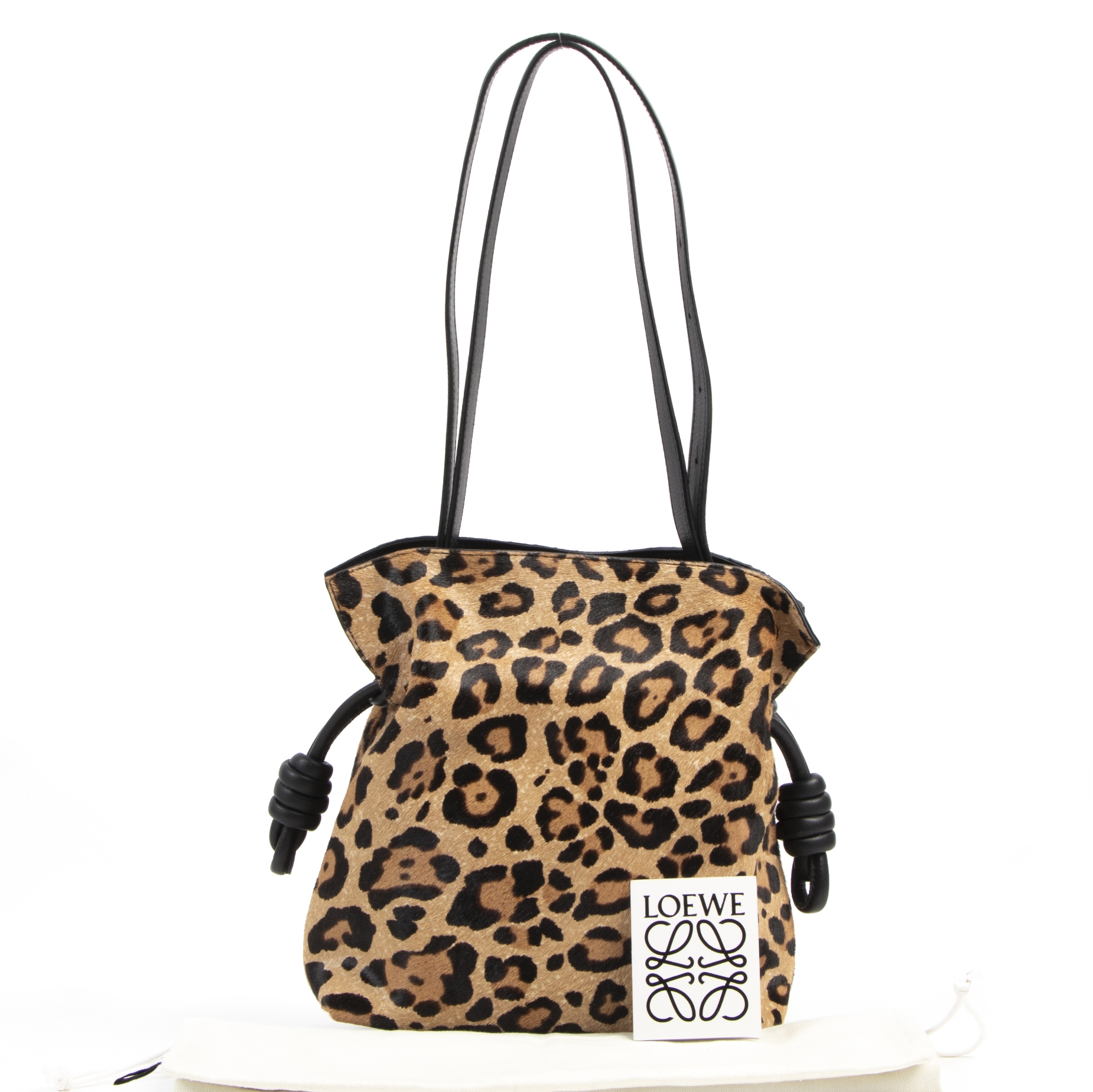 We buy and sell Loewe Small Flamenco Knot Leopard-Print Calf Hair Shoulder Bag