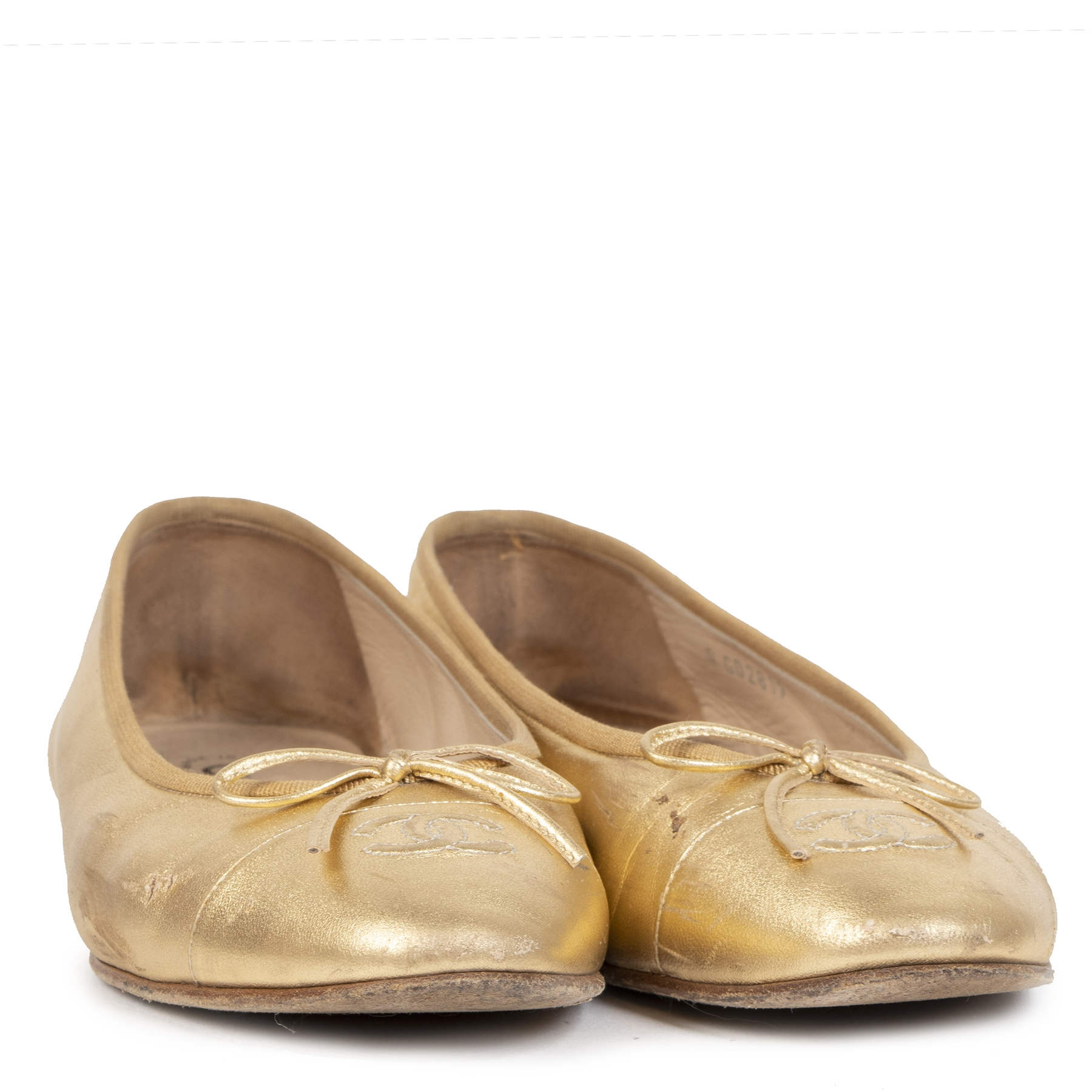 Authentique seconde-main vintage Chanel Gold Ballerina Flats - size 40 achète en ligne webshop LabelLOV