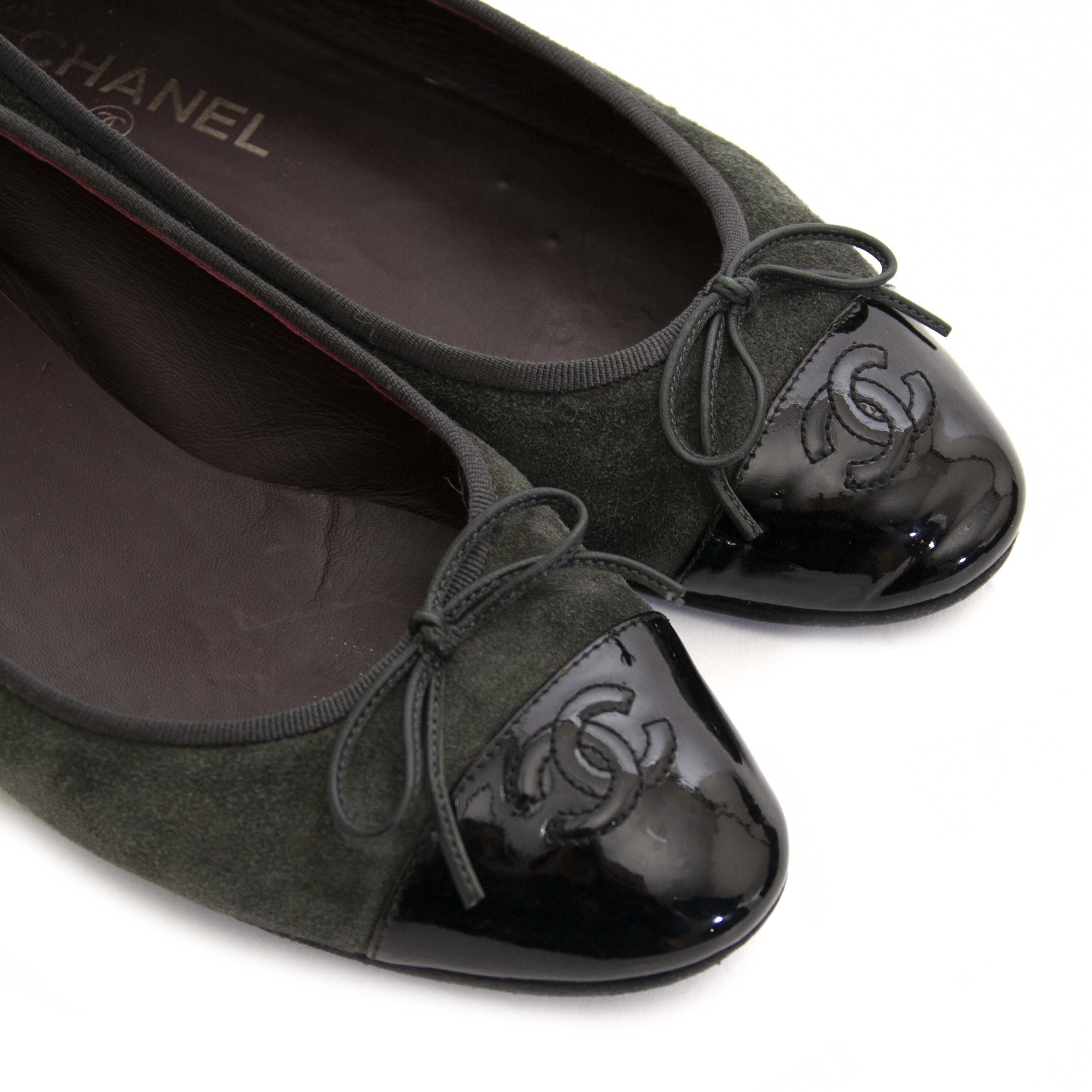 Chanel Suede and Patent Khaki Ballet Flats