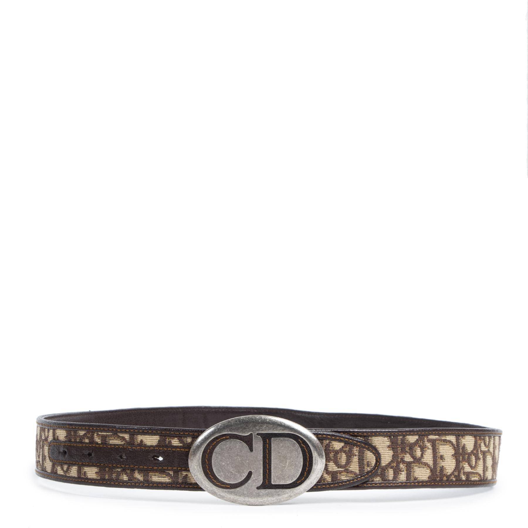 Authentieke Tweedehands Dior Brown Monogram Belt juiste prijs veilig online shoppen luxe merken webshop winkelen Antwerpen België mode fashion