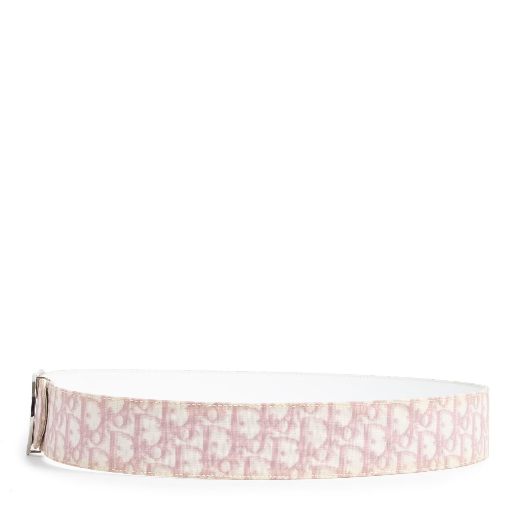 Authentieke tweedehands vintage Dior Pink Monogram Belt - Size 95 cm koop online webshop LabelLOV