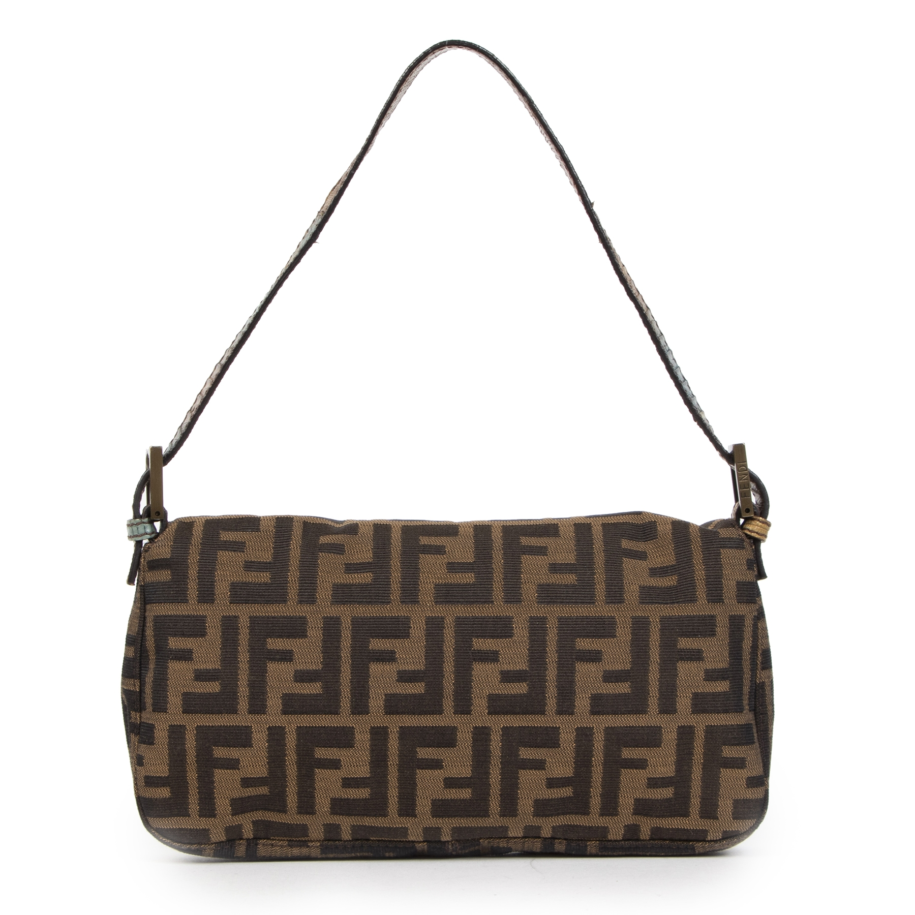 Authentieke tweedehands vintage Fendi Leopard Print Pony Hair Baguette Bag koop online webshop LabelLOV