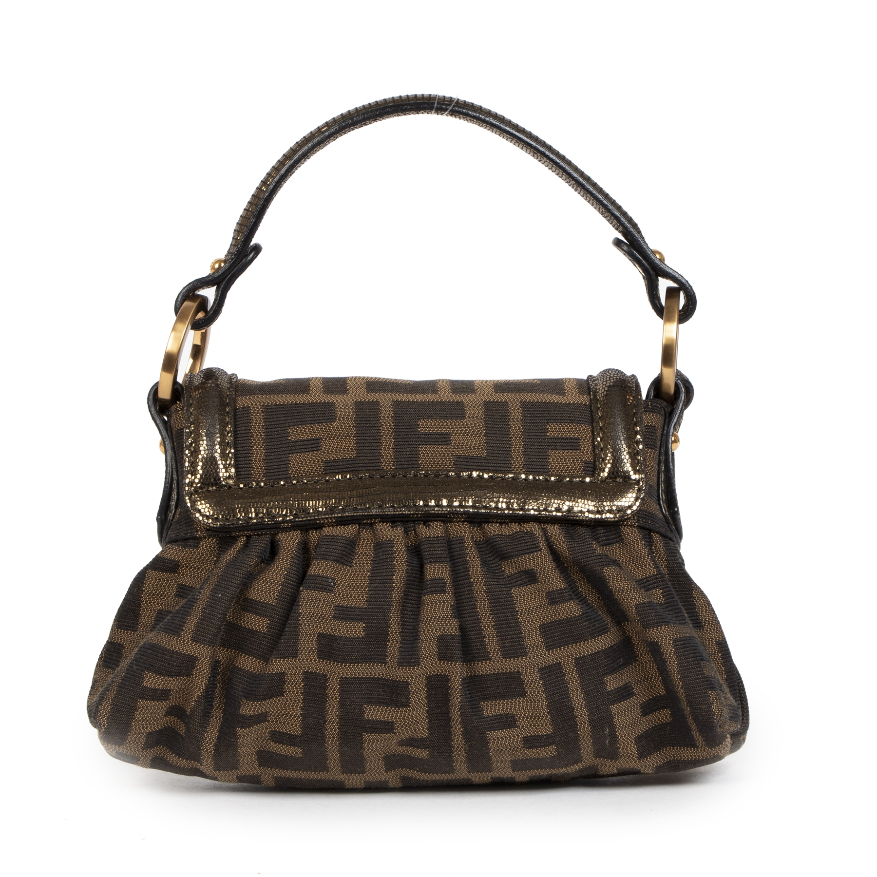 Authentieke tweedehands vintage Fendi Zucca Mini Chef Bag buy online webshop LabelLOV