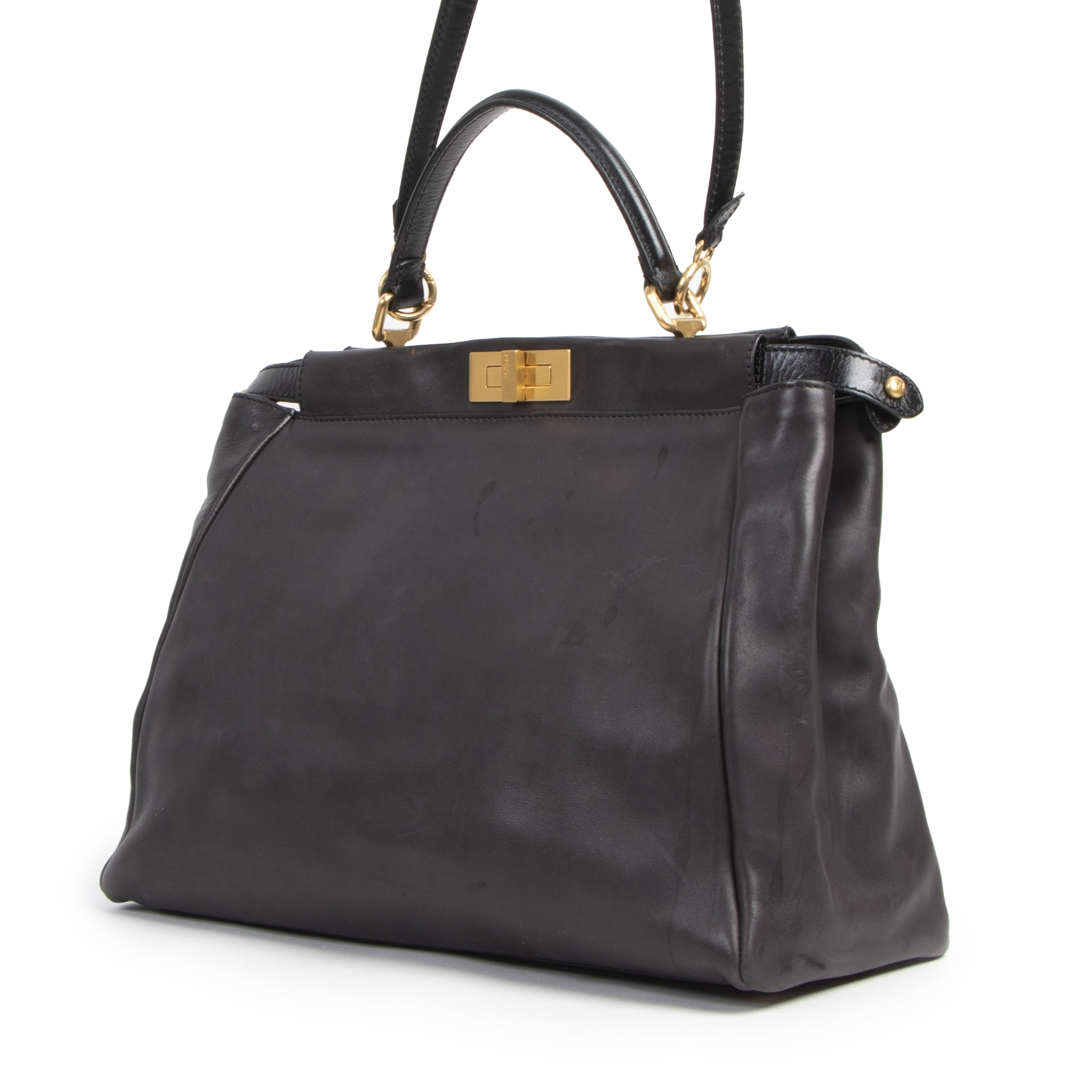 We buy and sell your authentic designer Fendi Peekaboo Large Black Lambskin Handbag