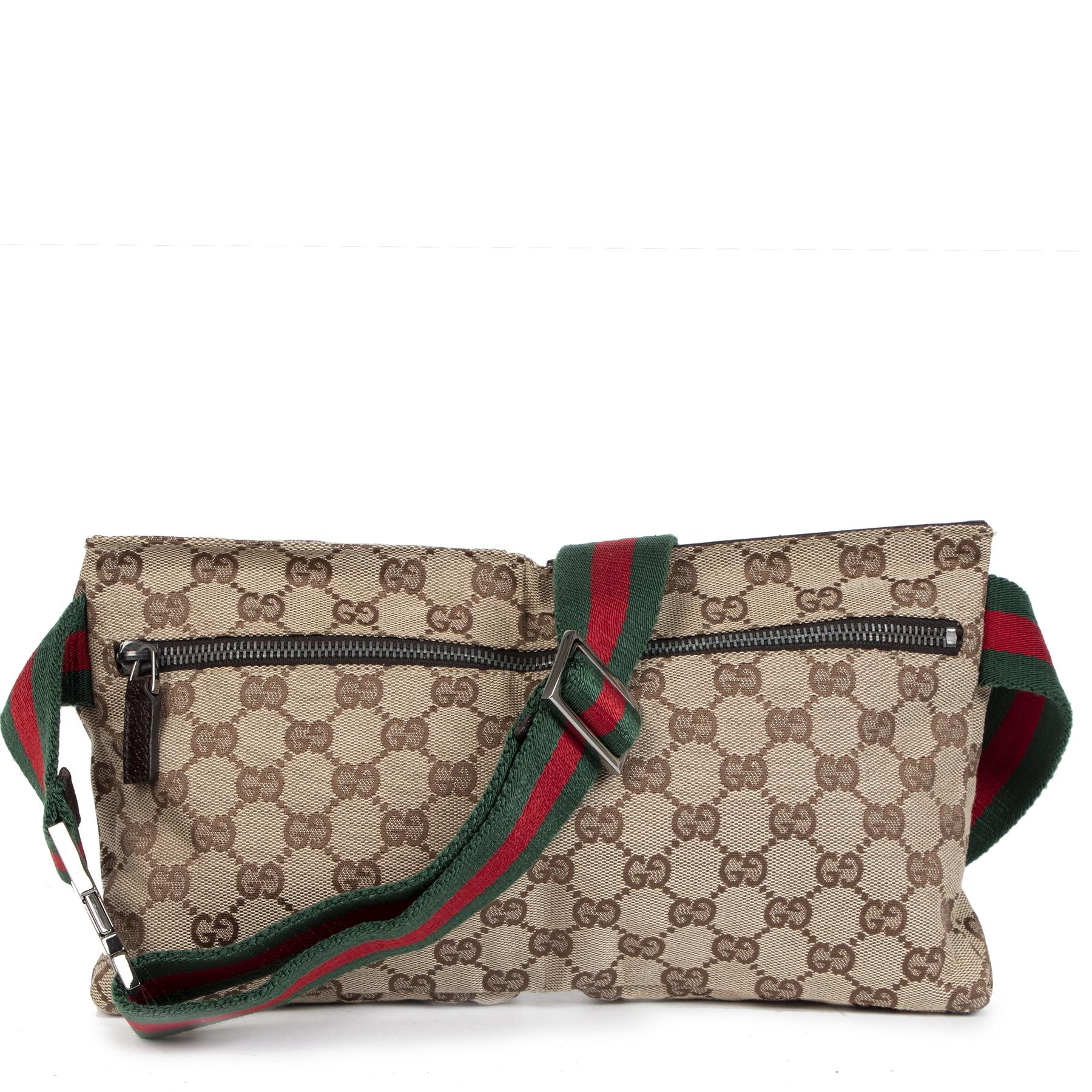 Authentique seconde-main vintage Gucci Beige GG Pattern Supreme Belt Bag achète en ligne webshop LabelLOV