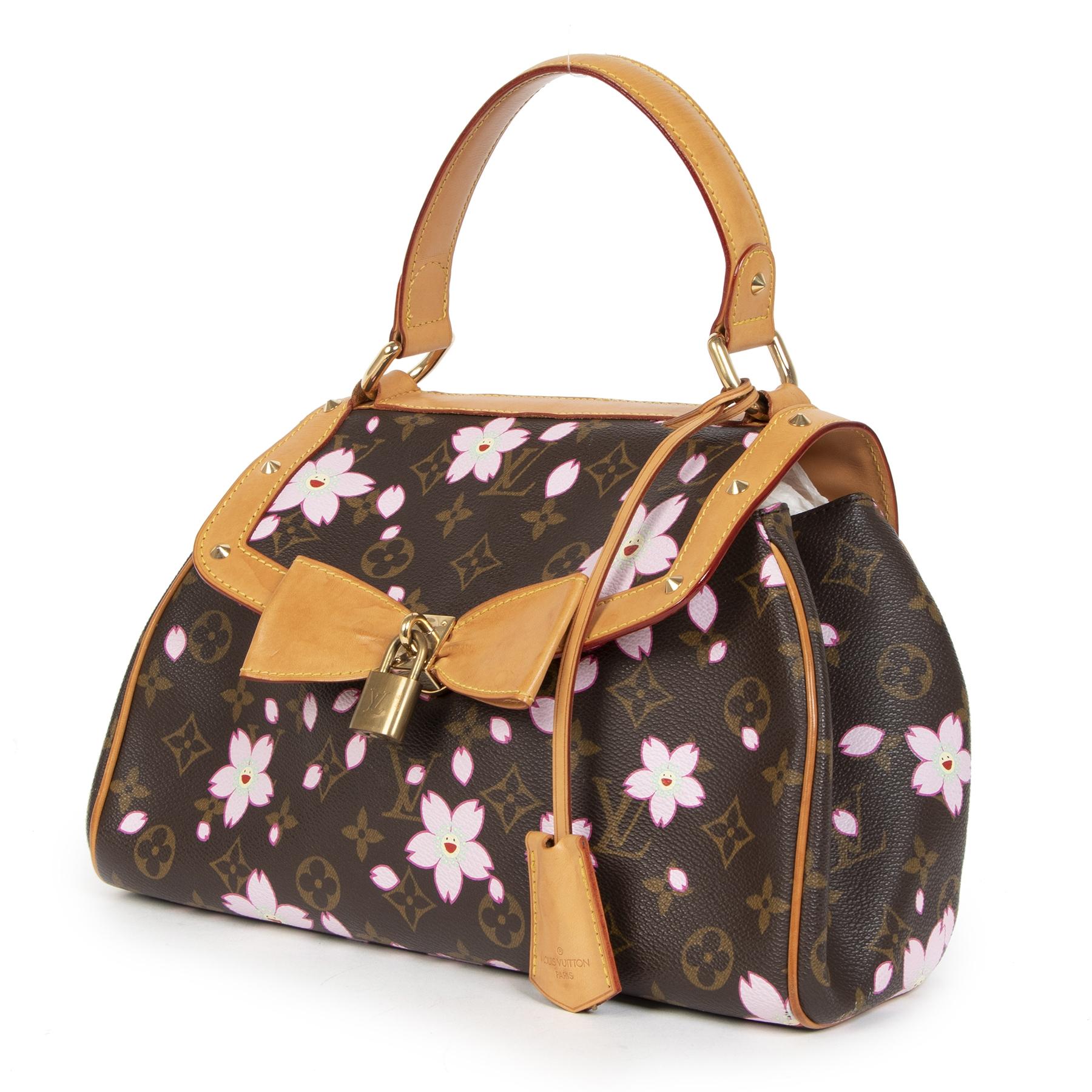 Authentieke tweedehands vintage Louis Vuitton Cherry Blossom Takashi Murakami Top Handle Bag Koop online webshop LabelLOV
